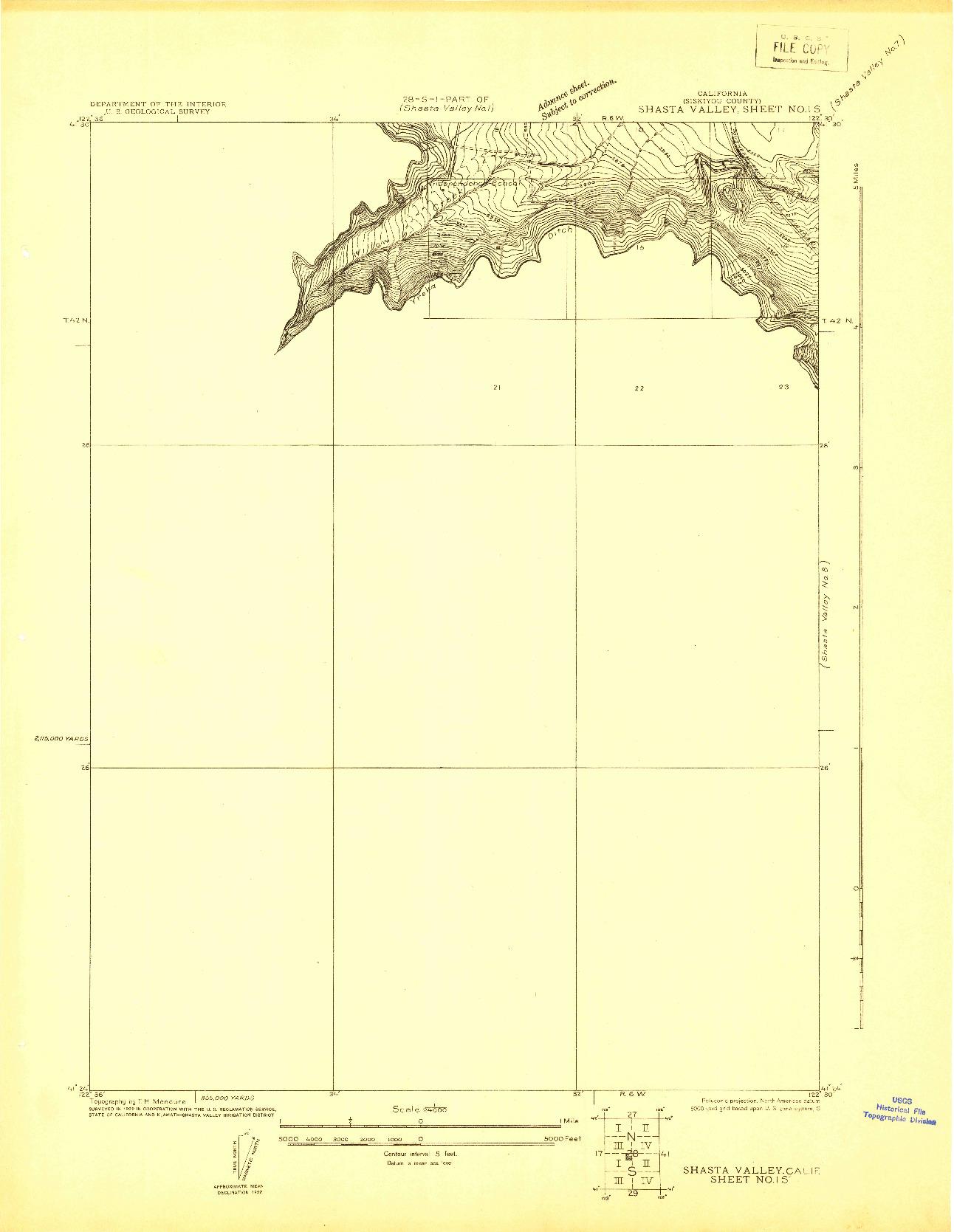USGS 1:24000-SCALE QUADRANGLE FOR SHASTA VALLEY SHEET NO 1 S, CA 1922