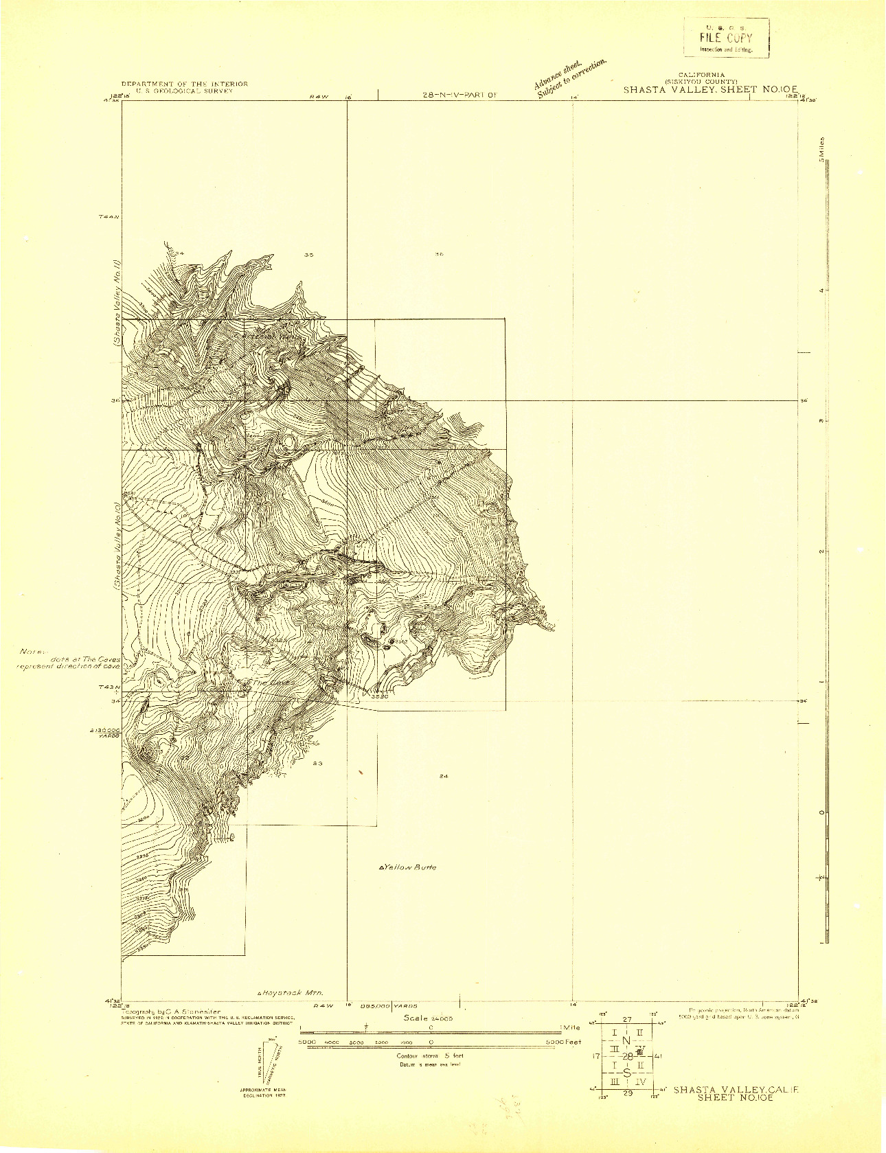 USGS 1:24000-SCALE QUADRANGLE FOR SHASTA VALLEY SHEET NO 10 E, CA 1922