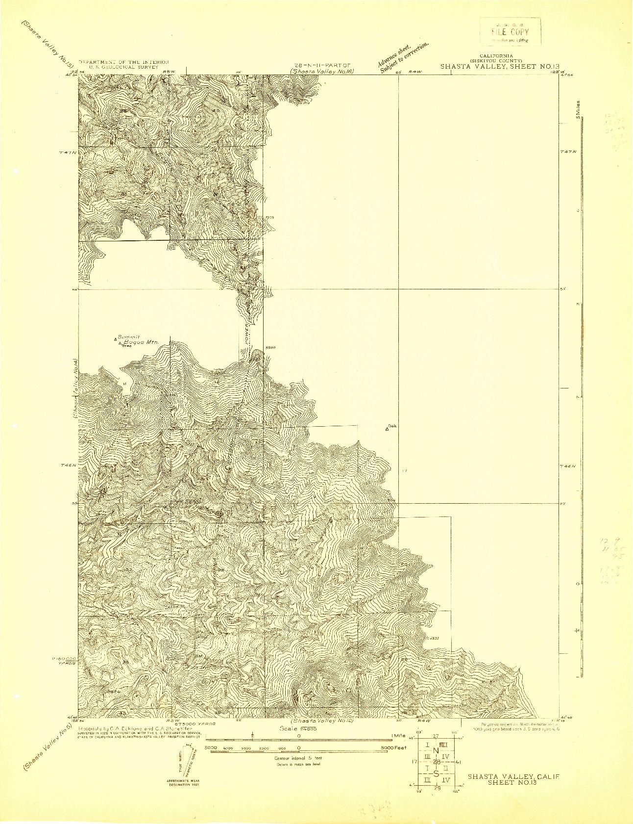 USGS 1:24000-SCALE QUADRANGLE FOR SHASTA VALLEY SHEET NO 13, CA 1922