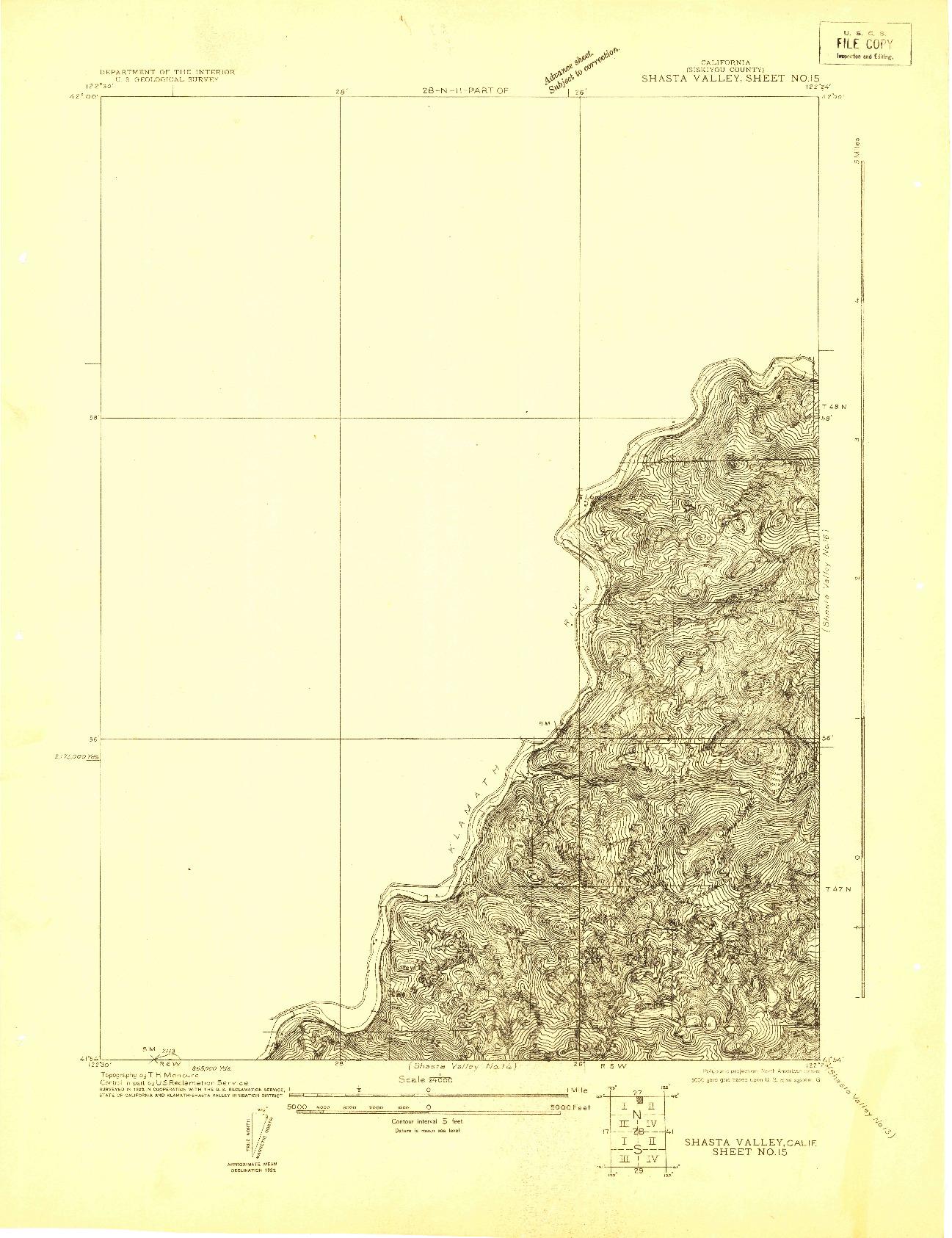 USGS 1:24000-SCALE QUADRANGLE FOR SHASTA VALLEY SHEET NO 15, CA 1922