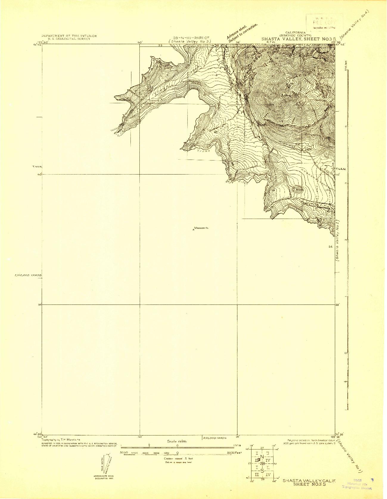 USGS 1:24000-SCALE QUADRANGLE FOR SHASTA VALLEY SHEET NO 3 S, CA 1922