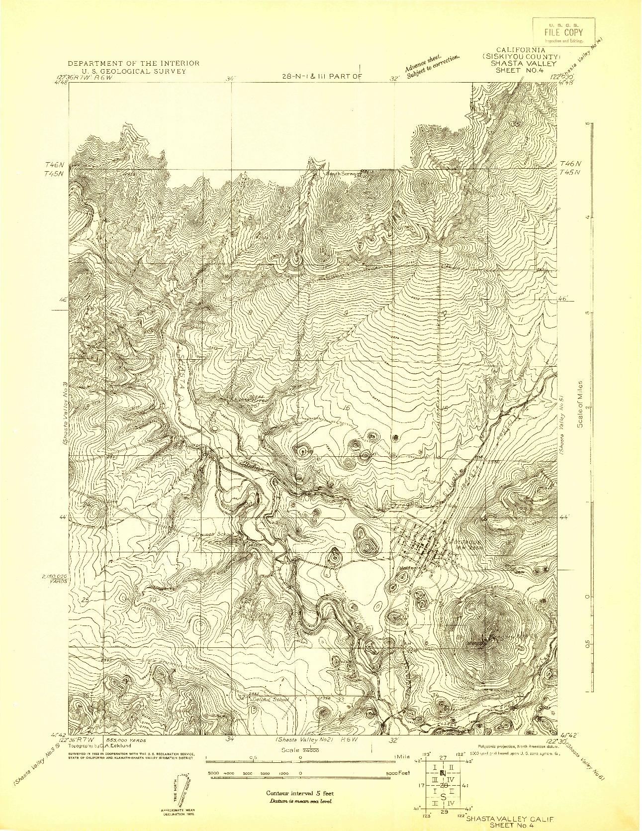 USGS 1:24000-SCALE QUADRANGLE FOR SHASTA VALLEY SHEET NO 4, CA 1922