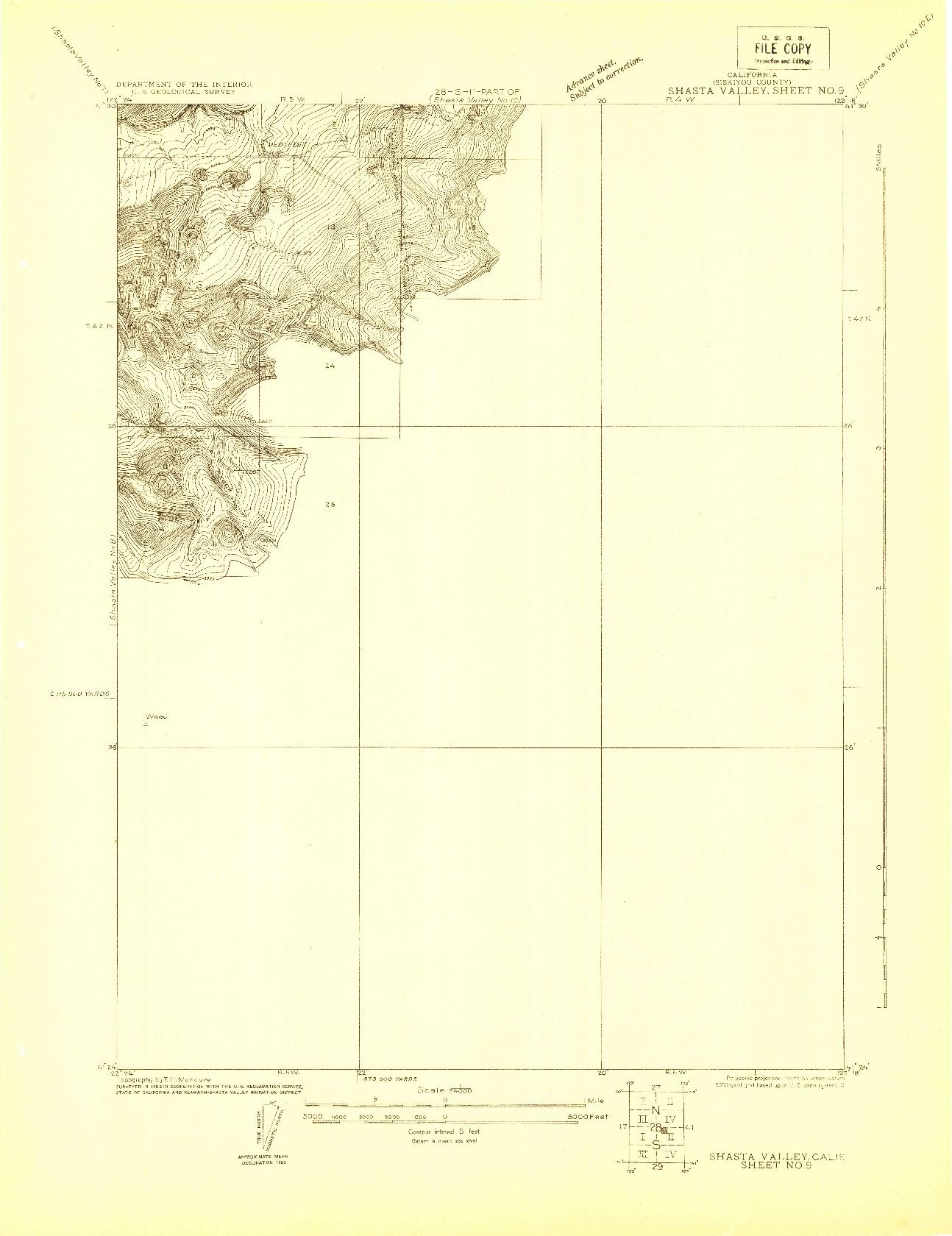 USGS 1:24000-SCALE QUADRANGLE FOR SHASTA VALLEY SHEET NO 9, CA 1922