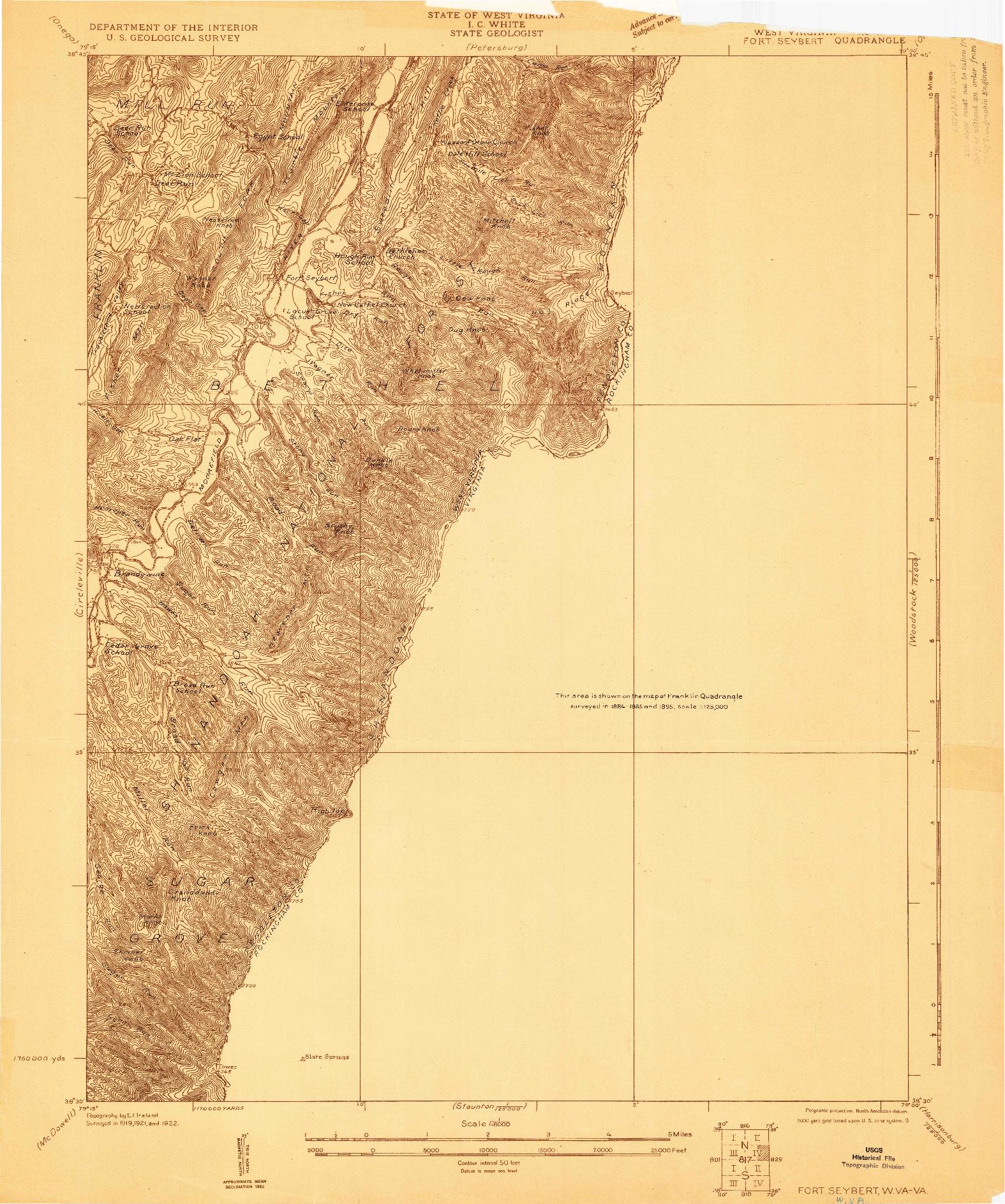USGS 1:48000-SCALE QUADRANGLE FOR FORT SEYBERT, WV 1922