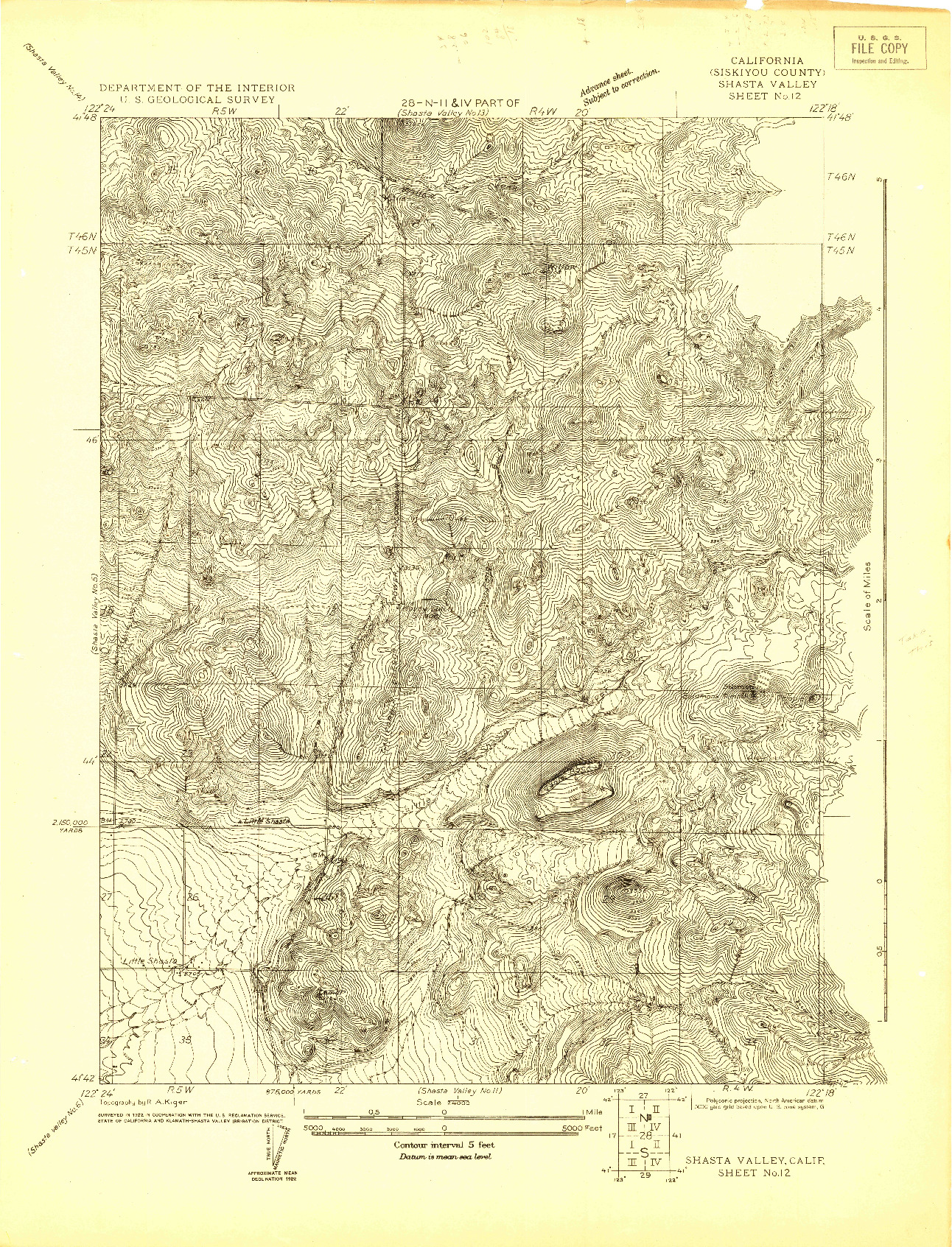 USGS 1:24000-SCALE QUADRANGLE FOR SHASTA VALLEY SHEET NO 12, CA 1922