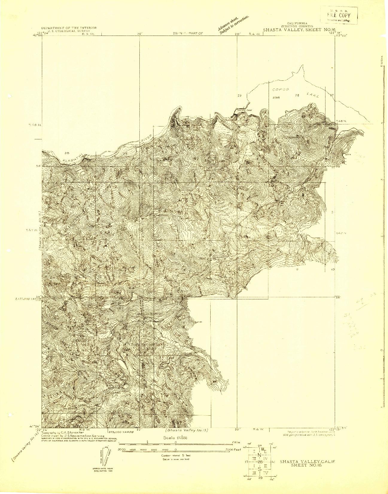 USGS 1:24000-SCALE QUADRANGLE FOR SHASTA VALLEY SHEET NO 16, CA 1922