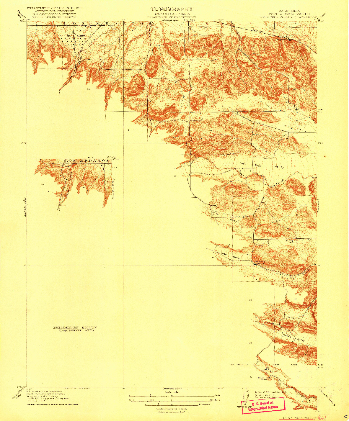 USGS 1:31680-SCALE QUADRANGLE FOR LONE TREE VALLEY, CA 1916