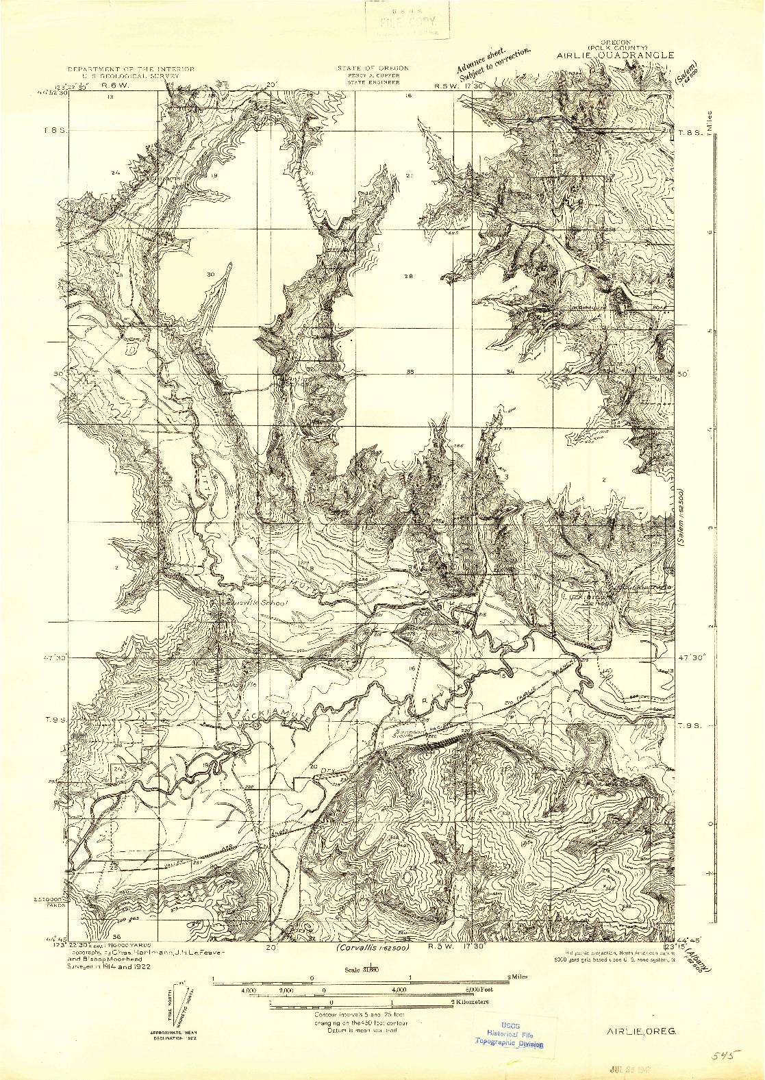 USGS 1:31680-SCALE QUADRANGLE FOR AIRLIE, OR 1922