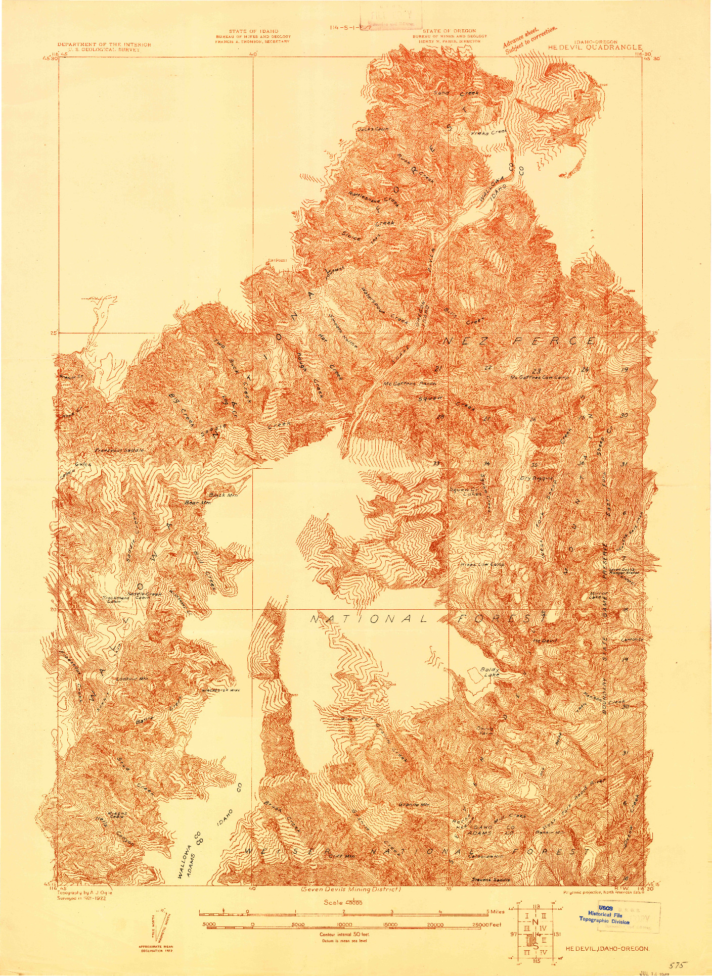 USGS 1:48000-SCALE QUADRANGLE FOR HE DEVIL, ID 1922