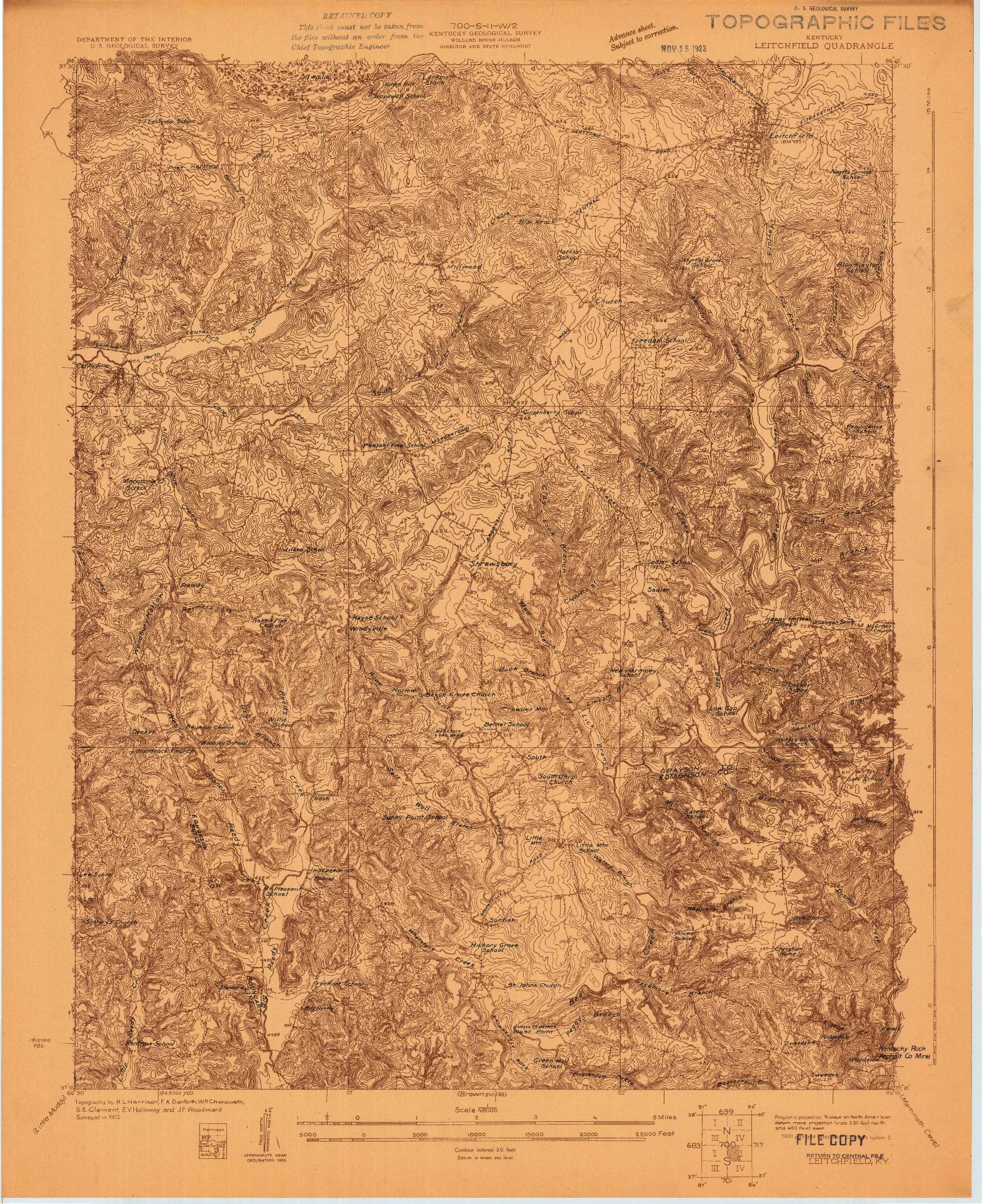 USGS 1:48000-SCALE QUADRANGLE FOR LEITCHFIELD, KY 1922