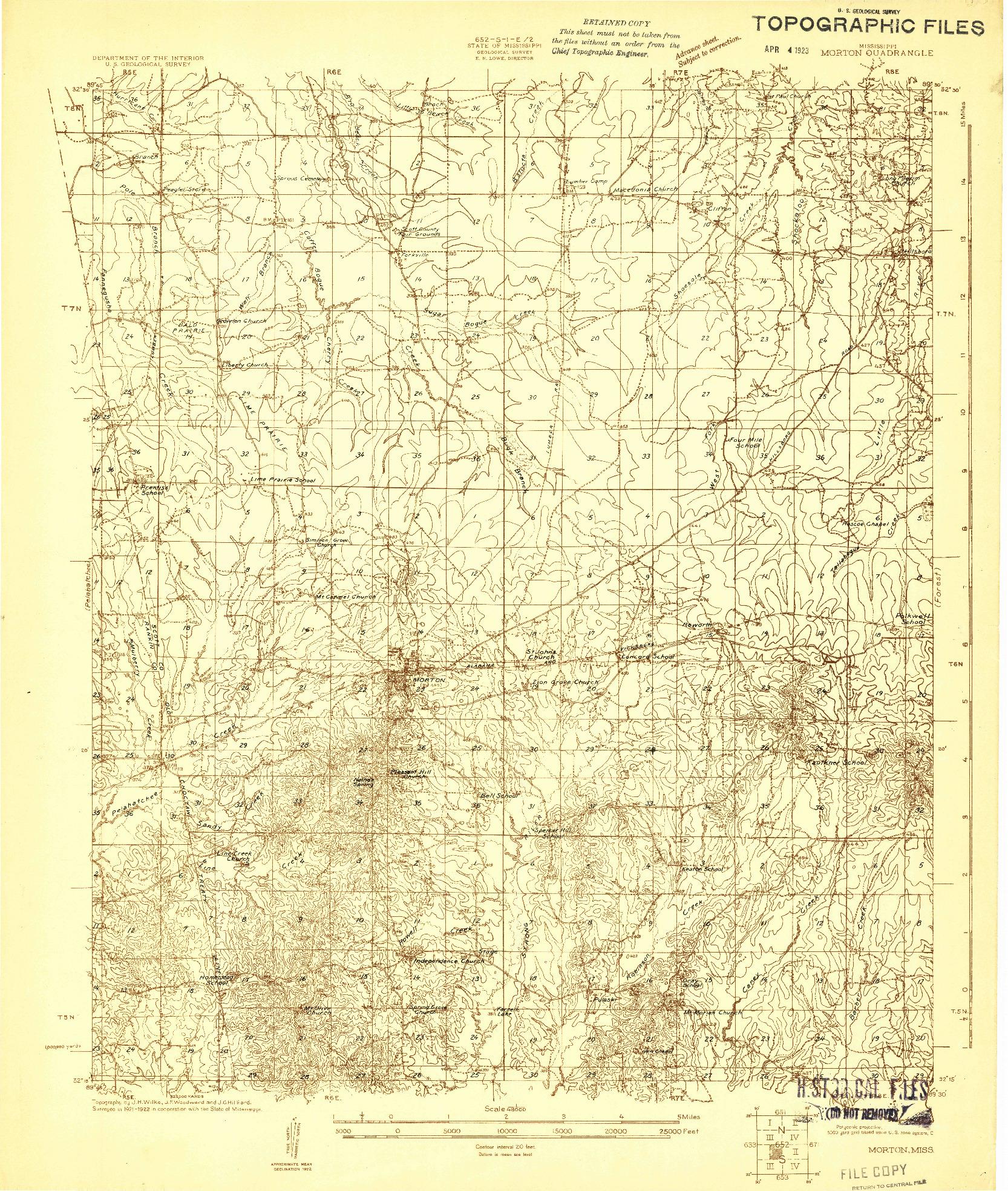 USGS 1:48000-SCALE QUADRANGLE FOR MORTON, MS 1922