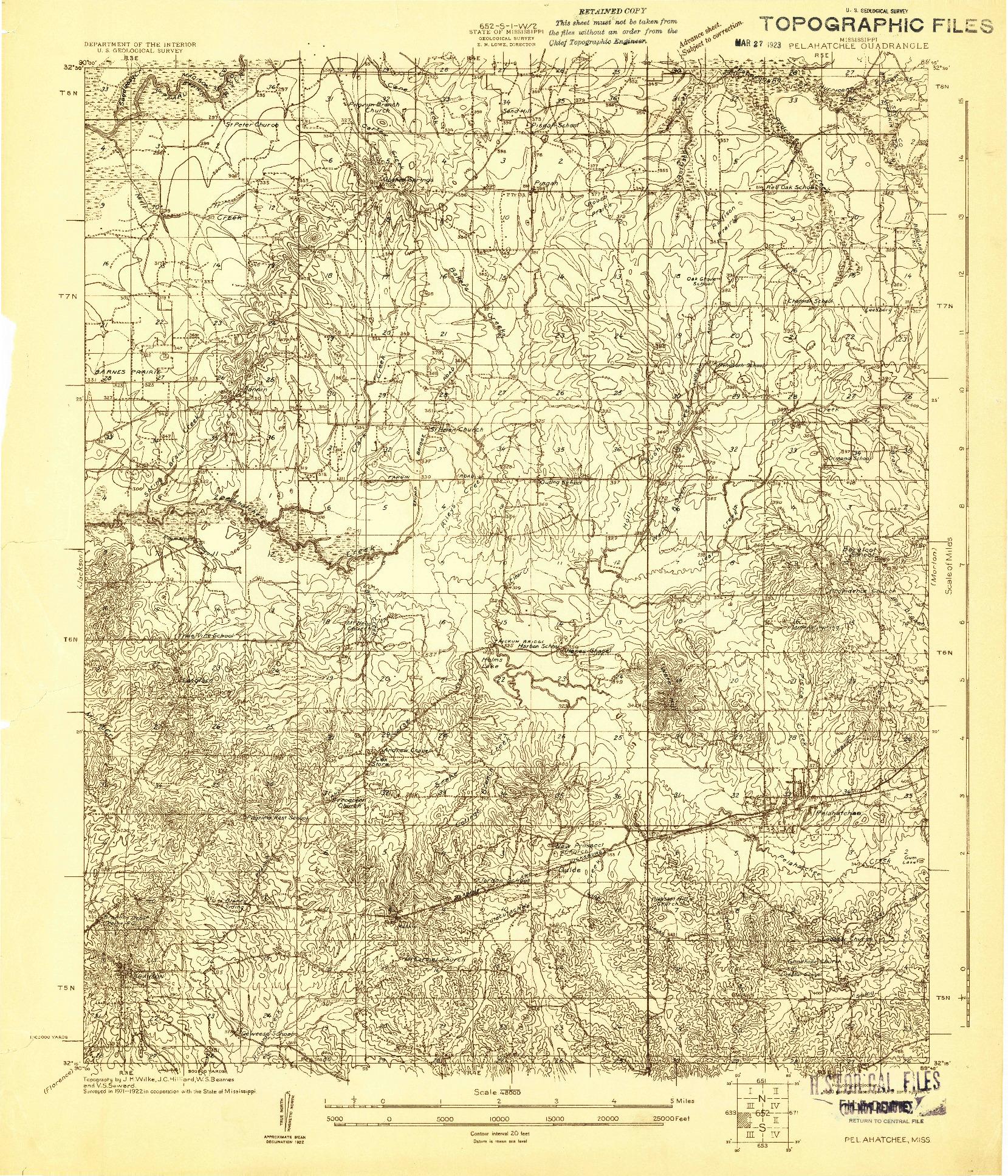 USGS 1:48000-SCALE QUADRANGLE FOR PELAHATCHEE, MS 1922