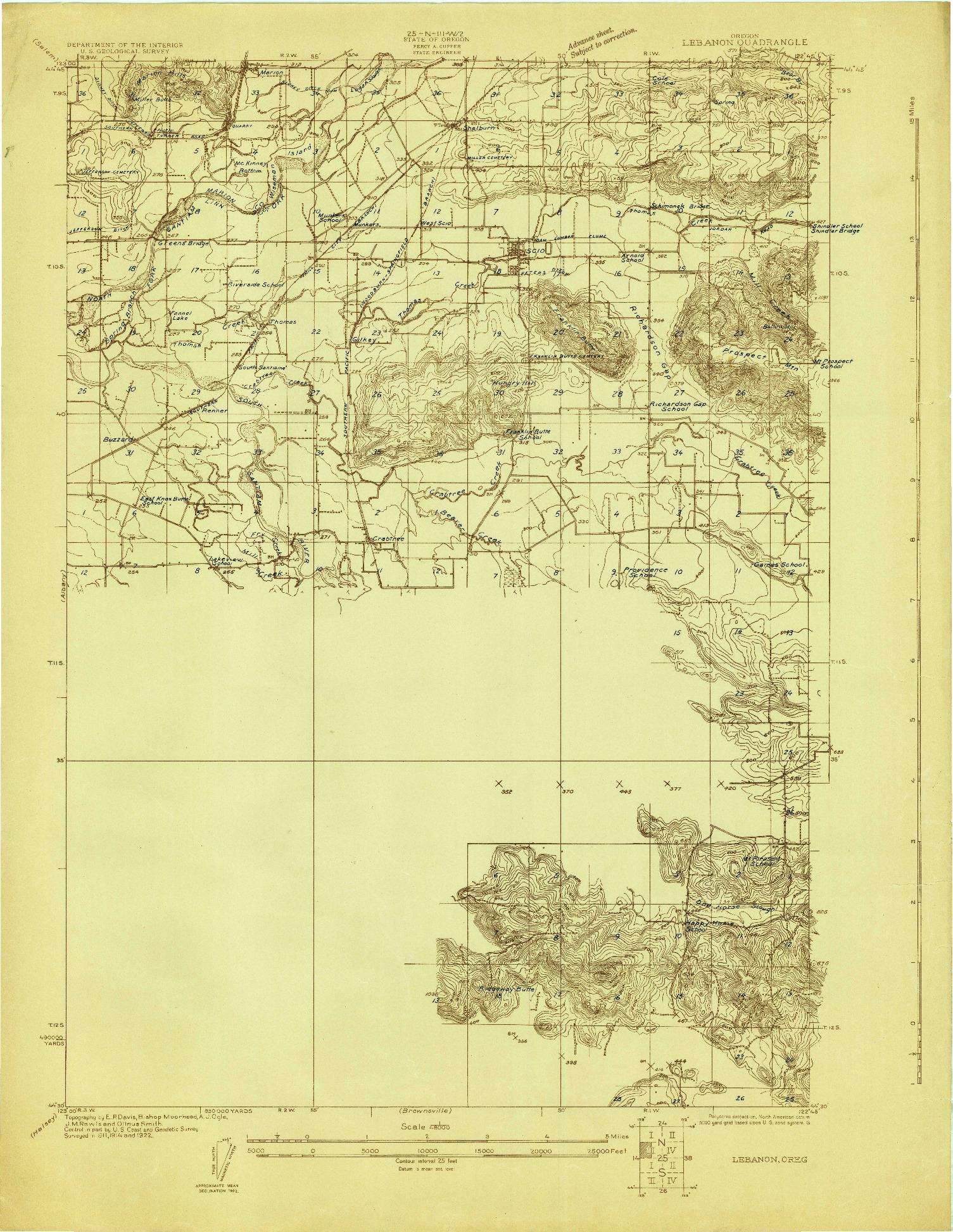 USGS 1:48000-SCALE QUADRANGLE FOR LEBANON, OR 1922