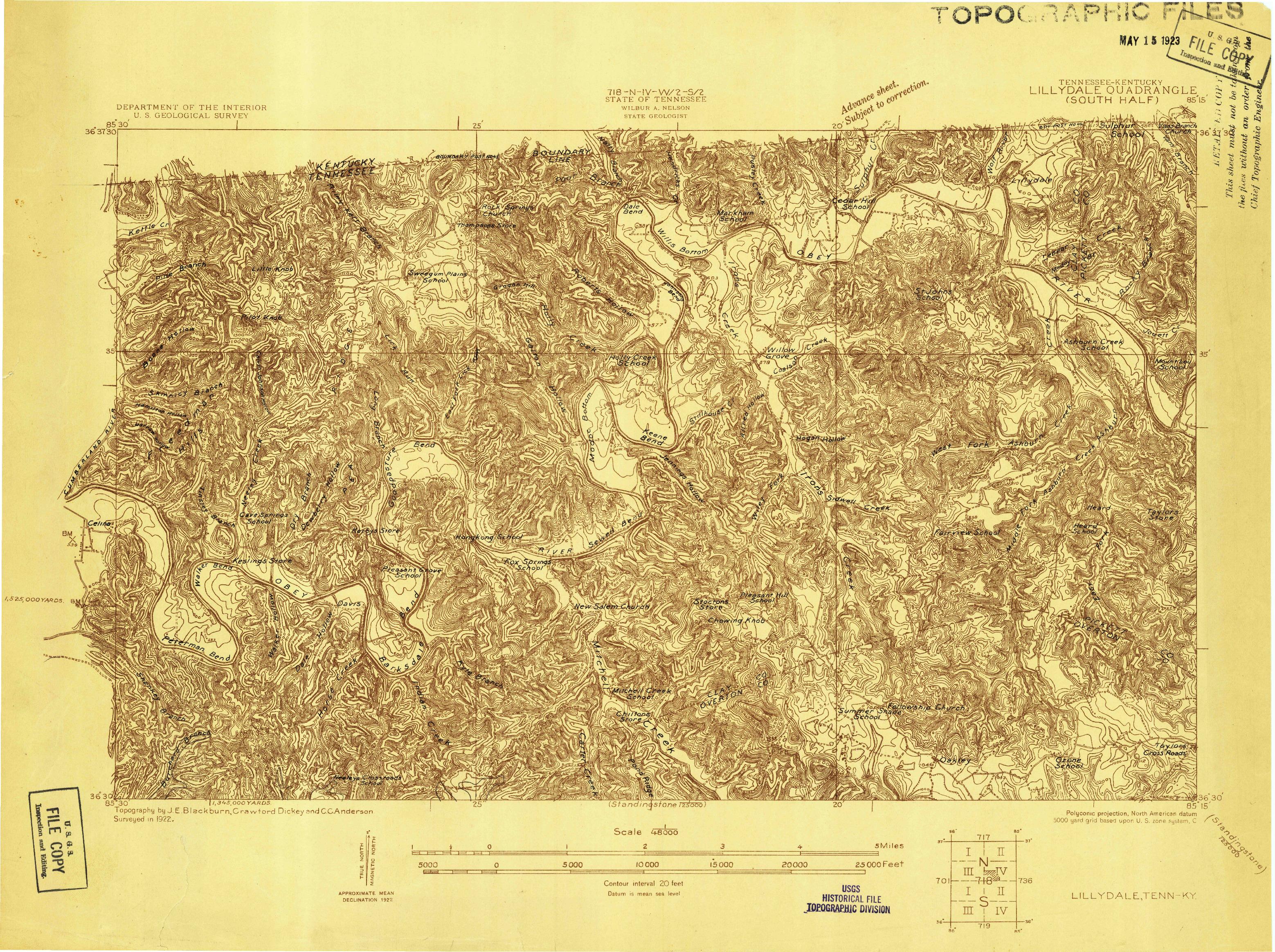 USGS 1:48000-SCALE QUADRANGLE FOR LILLYDALE, TN 1922