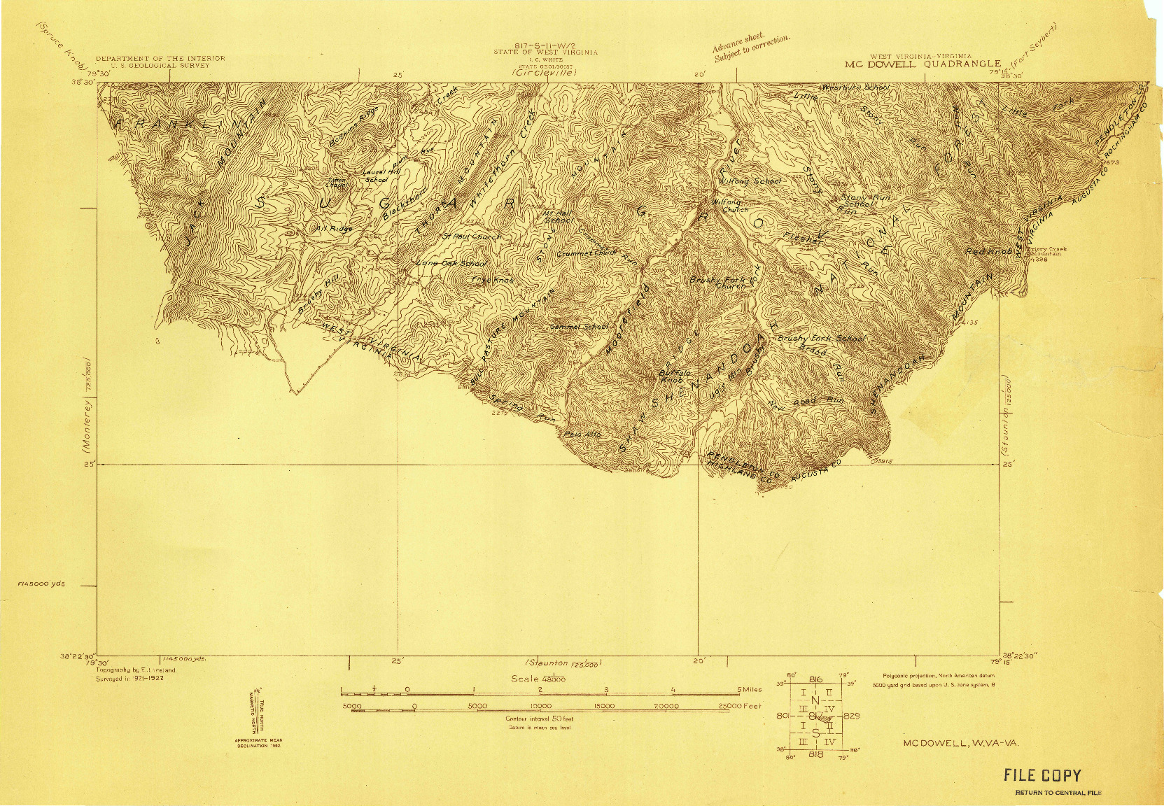 USGS 1:48000-SCALE QUADRANGLE FOR MC DOWELL, WV 1922