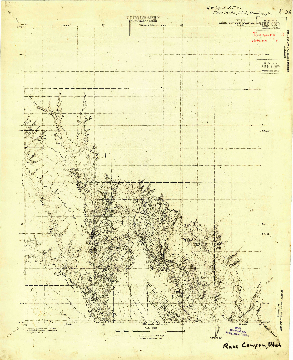 USGS 1:63360-SCALE QUADRANGLE FOR REES CANYON, UT 1922