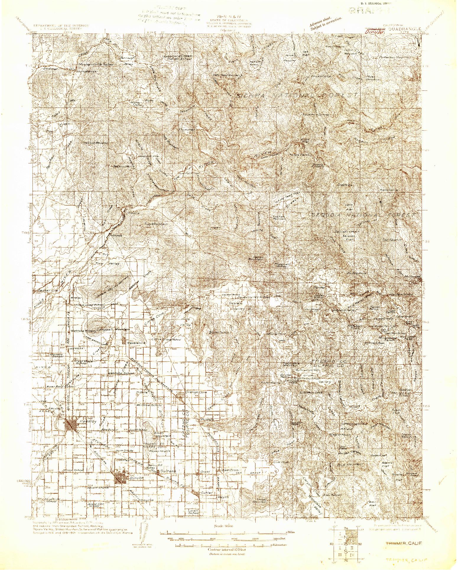 USGS 1:96000-SCALE QUADRANGLE FOR TRIMMER, CA 1922