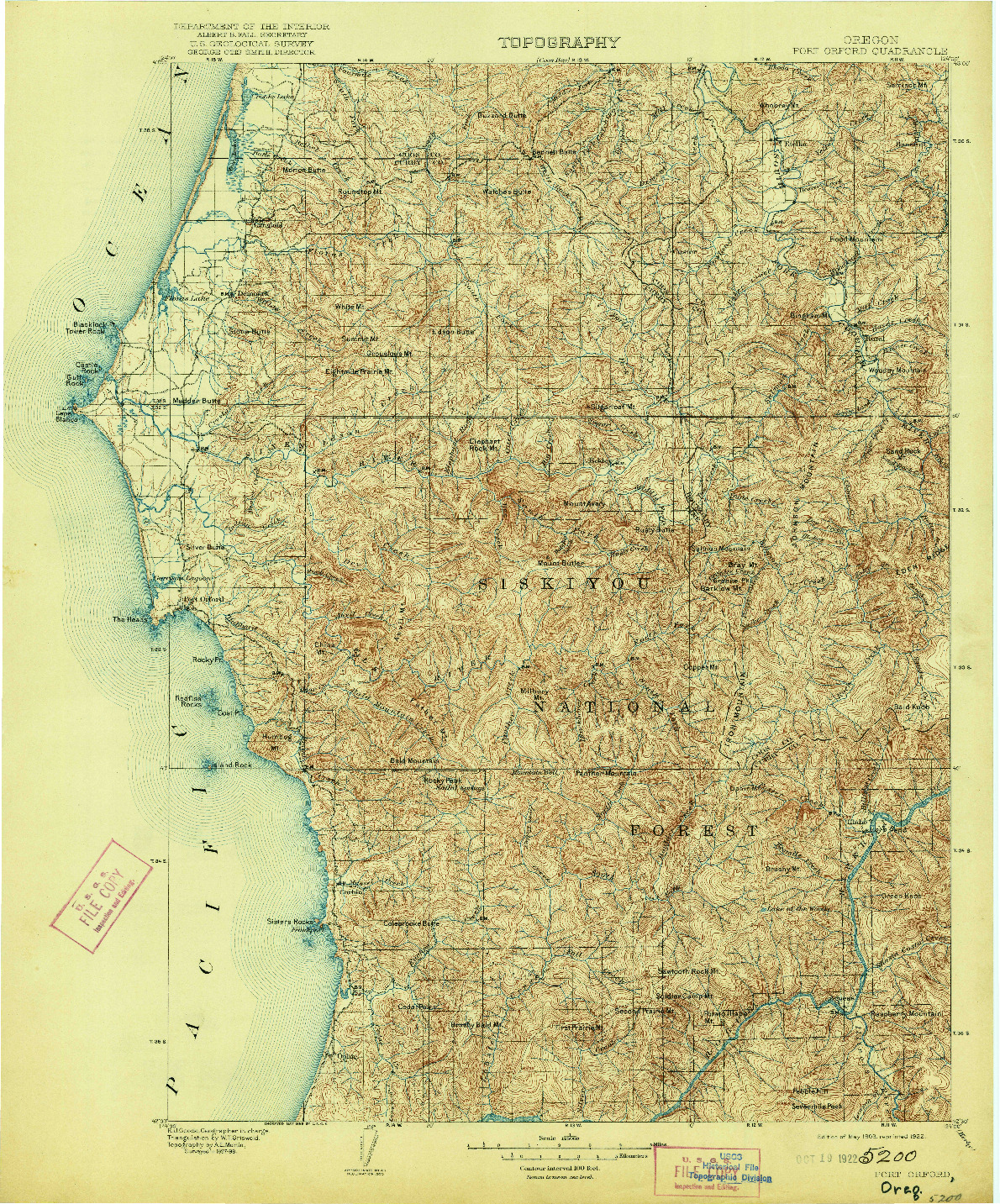 USGS 1:125000-SCALE QUADRANGLE FOR PORT ORFORD, OR 1903