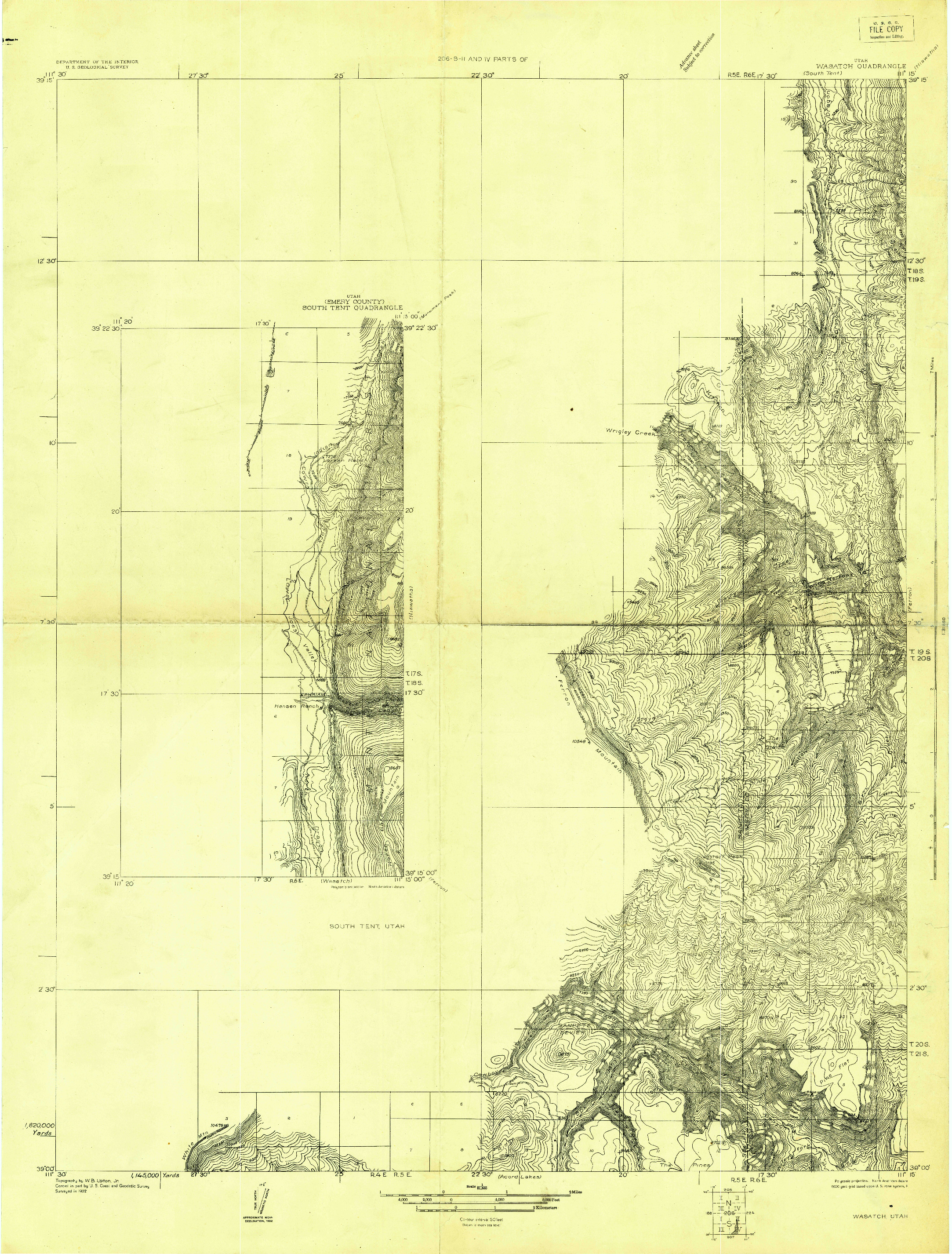 USGS 1:31680-SCALE QUADRANGLE FOR WASATCH, UT 1922