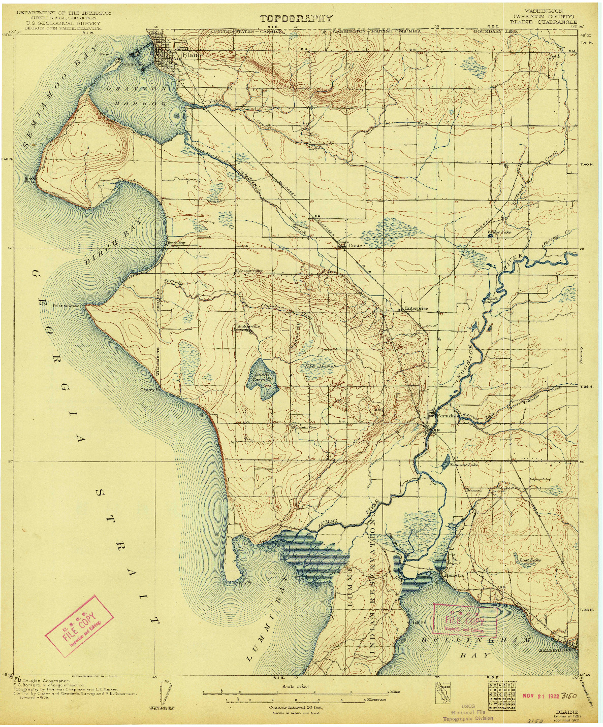 USGS 1:62500-SCALE QUADRANGLE FOR BLAINE, WA 1907