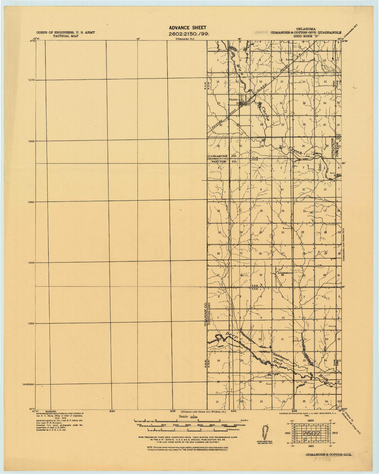USGS 1:62500-SCALE QUADRANGLE FOR COMANCHE AND COTTON CO'S, OK 1922