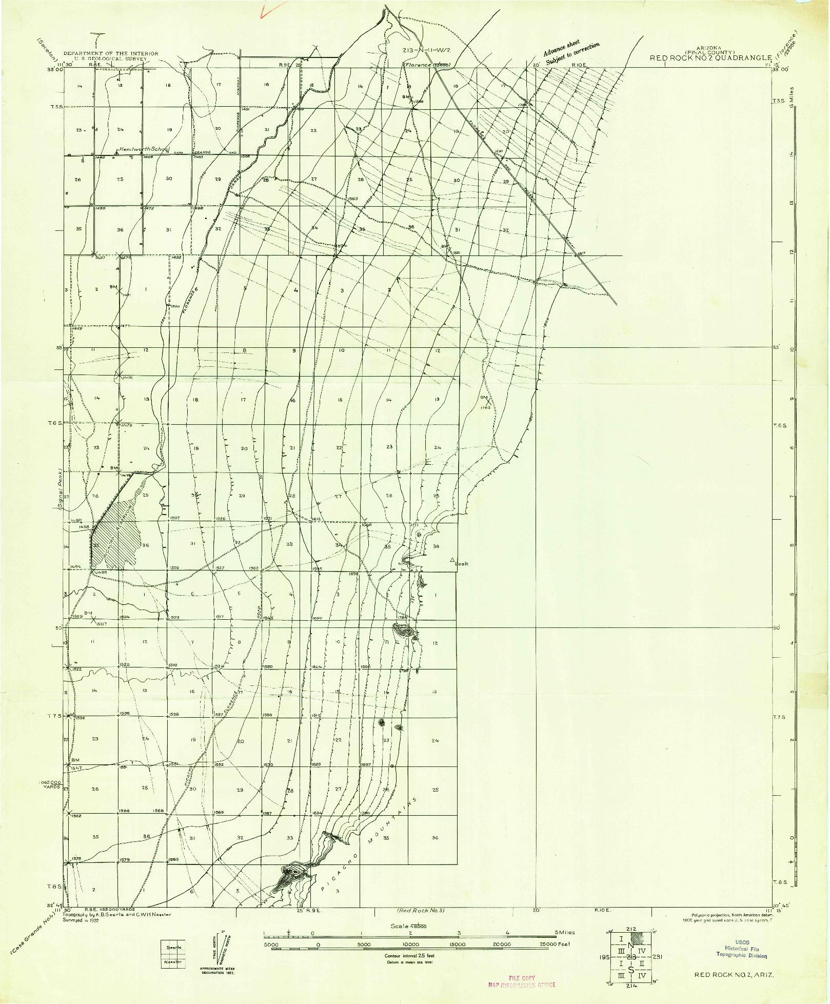 USGS 1:48000-SCALE QUADRANGLE FOR RED ROCK NO 2, AZ 1922