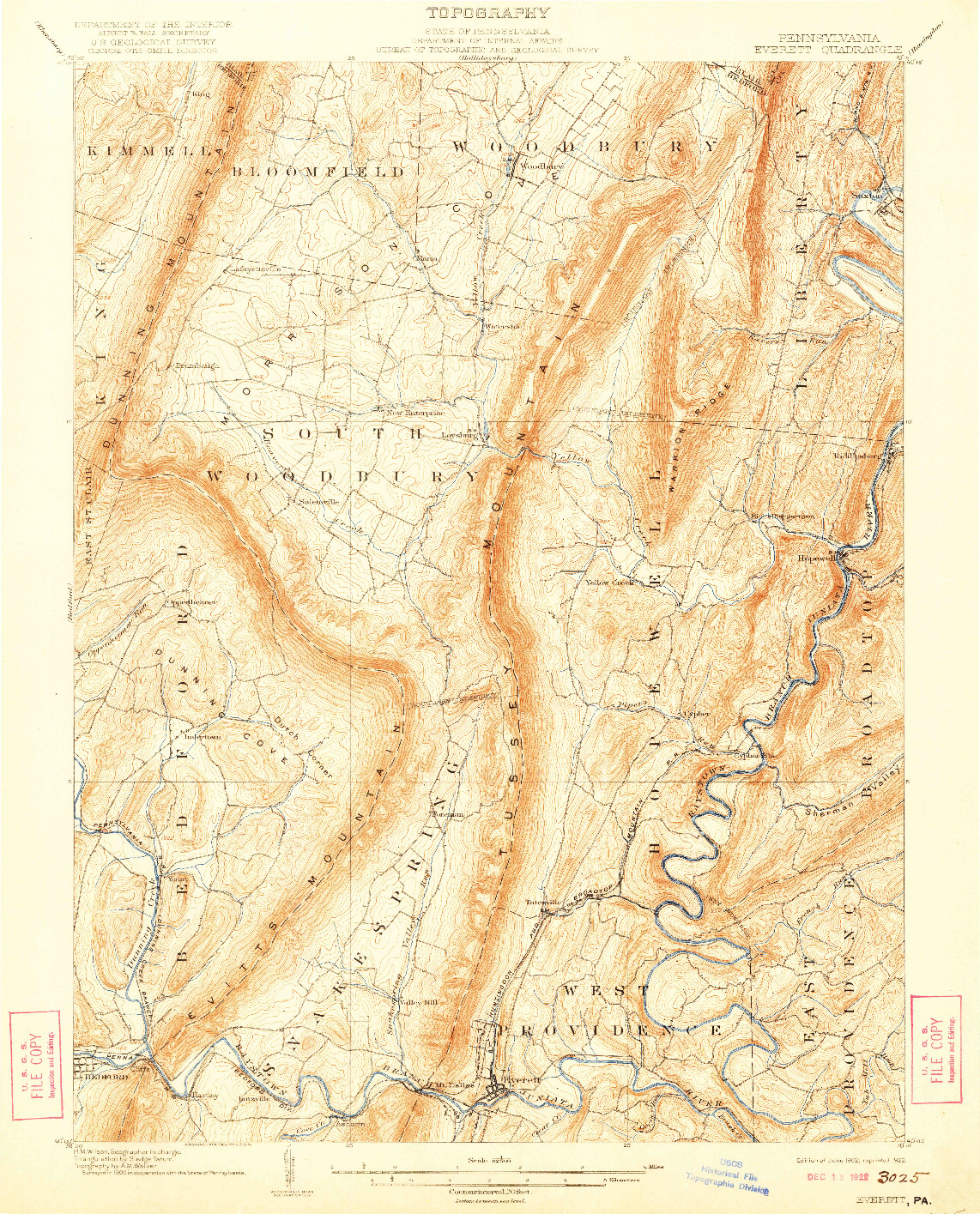 USGS 1:62500-SCALE QUADRANGLE FOR EVERETT, PA 1902