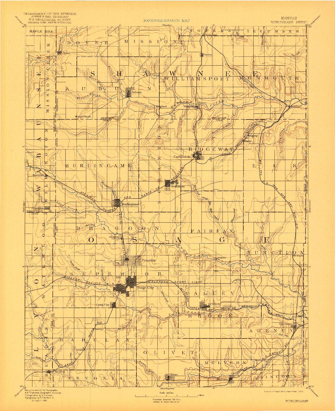 USGS 1:125000-SCALE QUADRANGLE FOR BURLINGAME, KS 1894