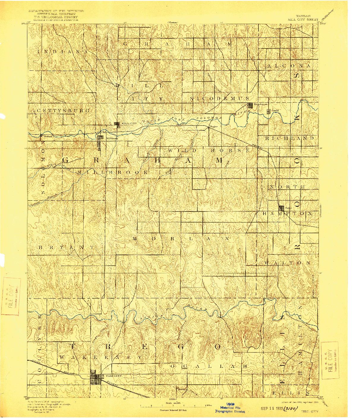 USGS 1:125000-SCALE QUADRANGLE FOR HILL CITY, KS 1893