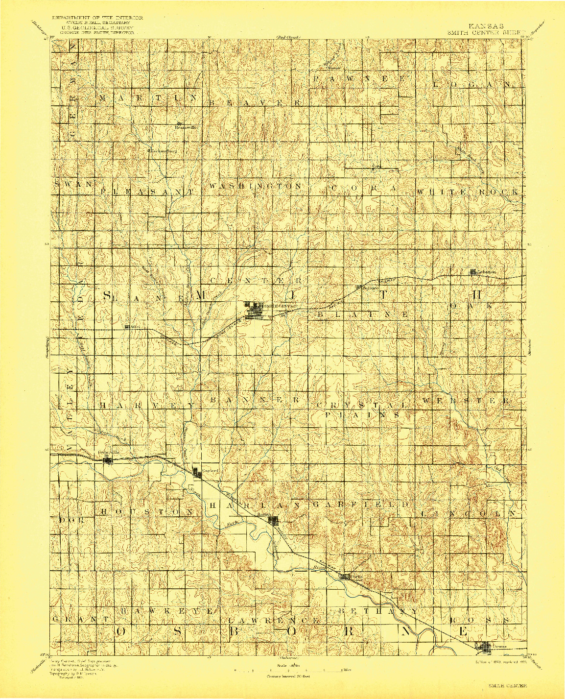 USGS 1:125000-SCALE QUADRANGLE FOR SMITH CENTER, KS 1893