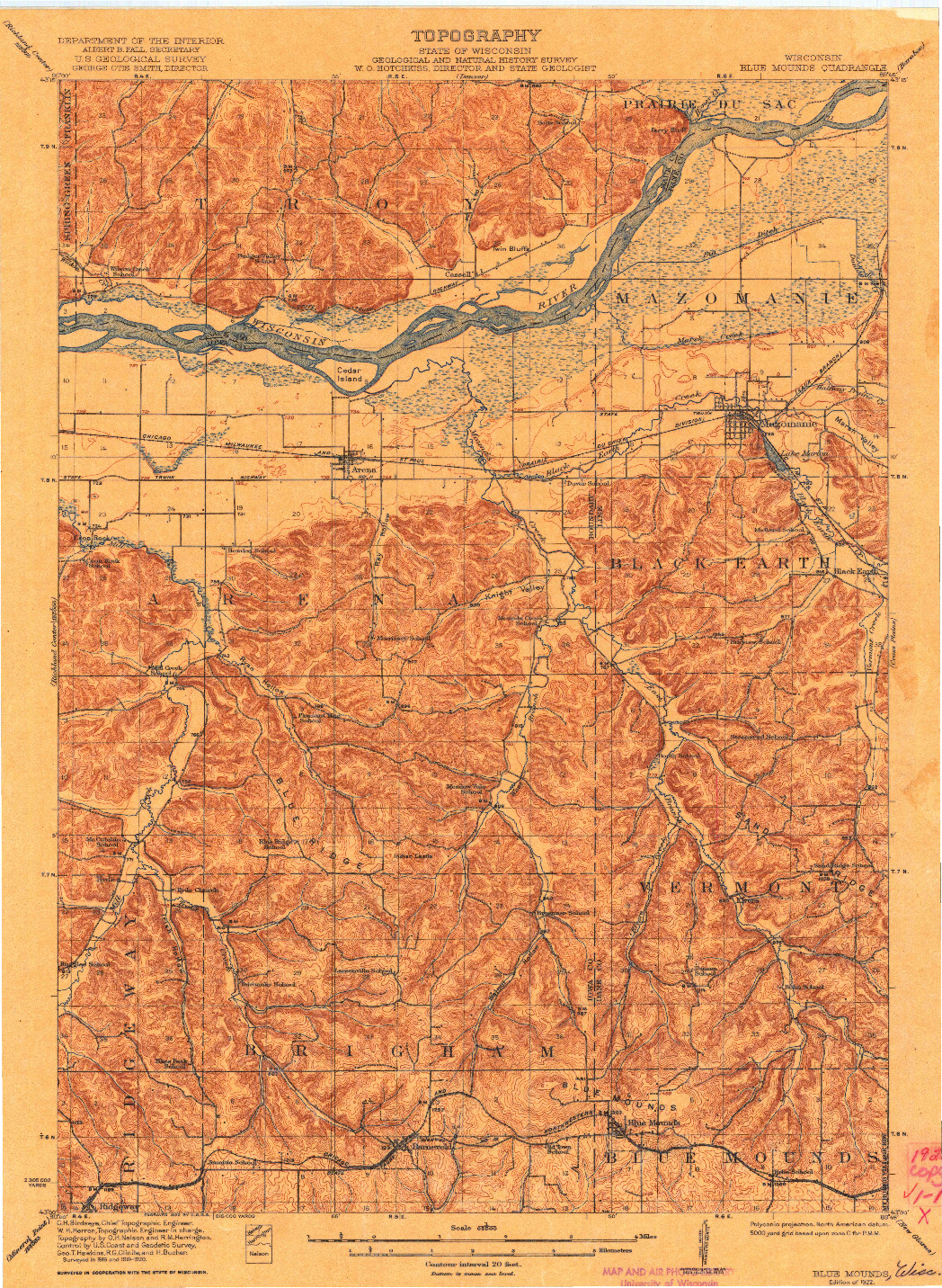 USGS 1:62500-SCALE QUADRANGLE FOR BLUE MOUNDS, WI 1922