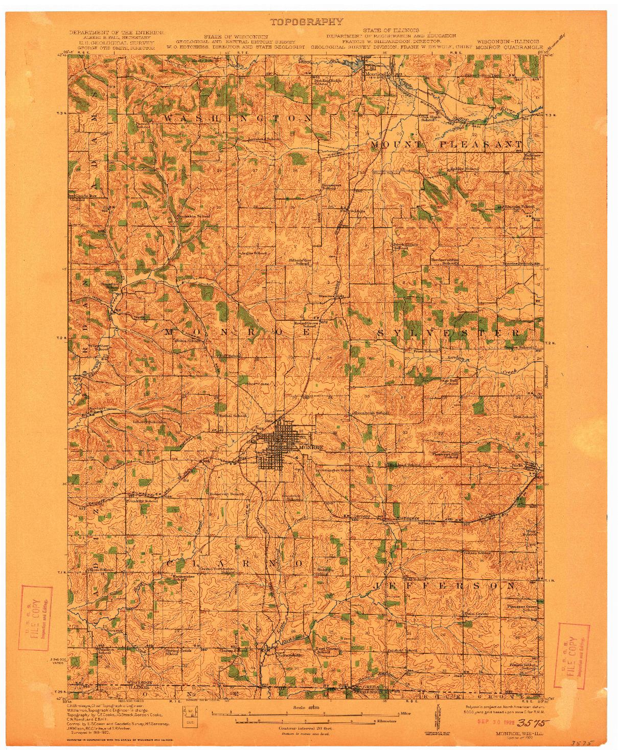 USGS 1:62500-SCALE QUADRANGLE FOR MONROE, WI 1922
