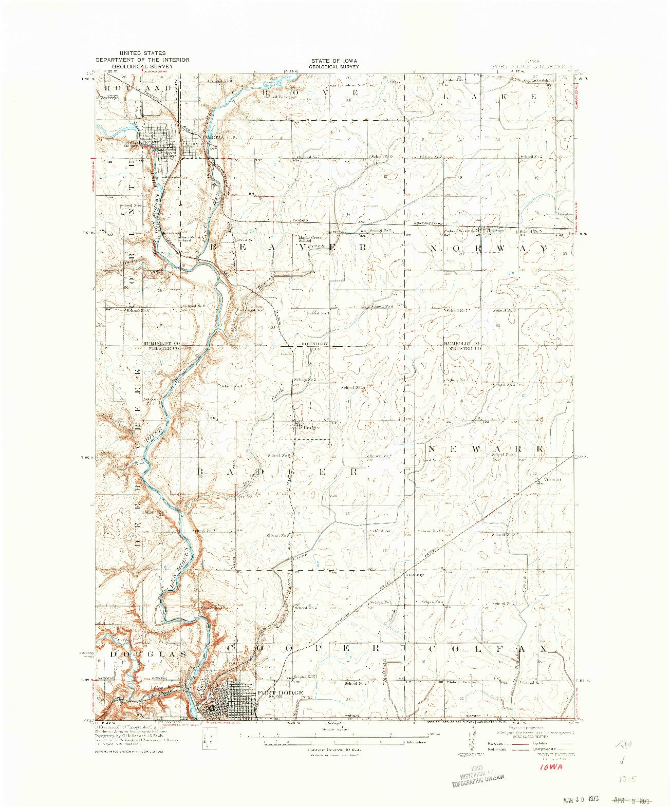 USGS 1:62500-SCALE QUADRANGLE FOR FORT DODGE, IA 1923