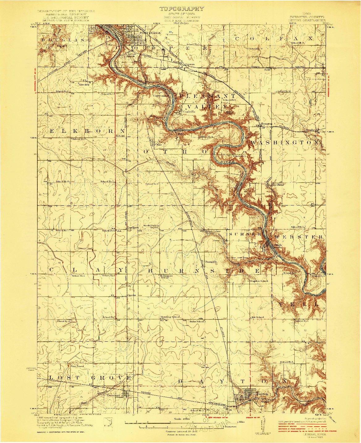 USGS 1:62500-SCALE QUADRANGLE FOR LEHIGH, IA 1923