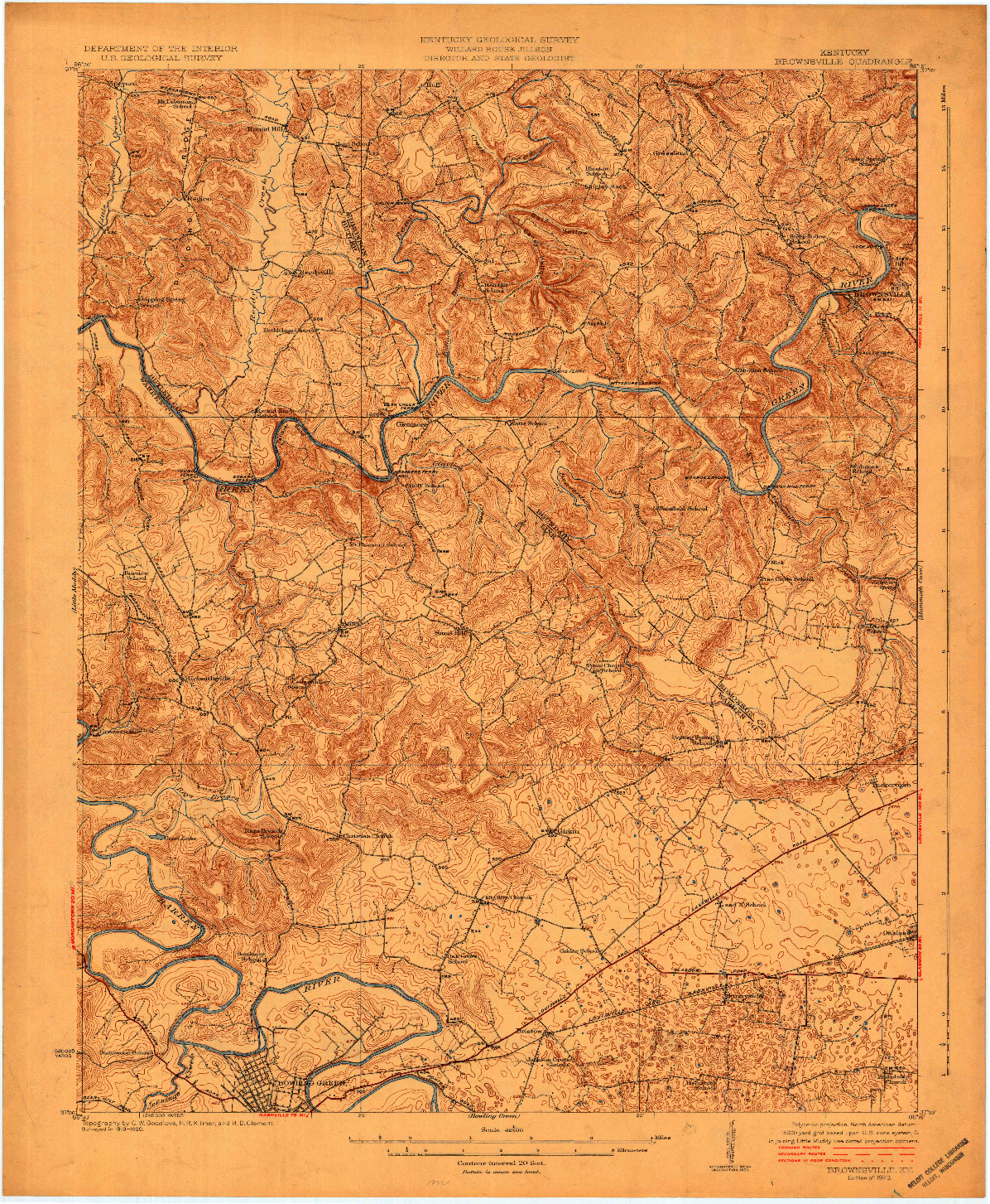 USGS 1:62500-SCALE QUADRANGLE FOR BROWNSVILLE, KY 1923