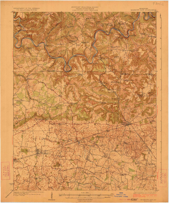 USGS 1:62500-SCALE QUADRANGLE FOR MAMMOTH CAVE, KY 1923