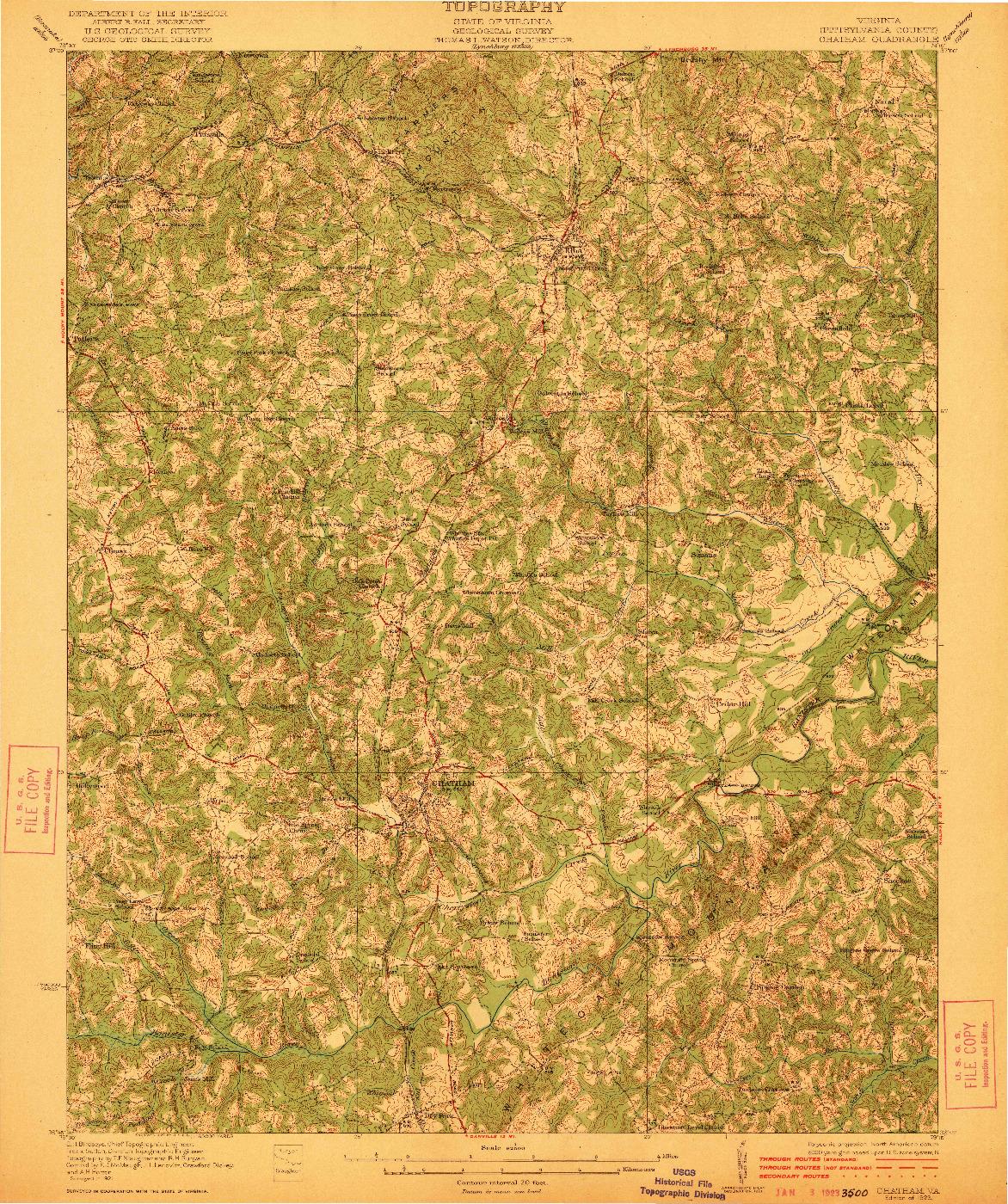 USGS 1:62500-SCALE QUADRANGLE FOR CHATHAM, VA 1923