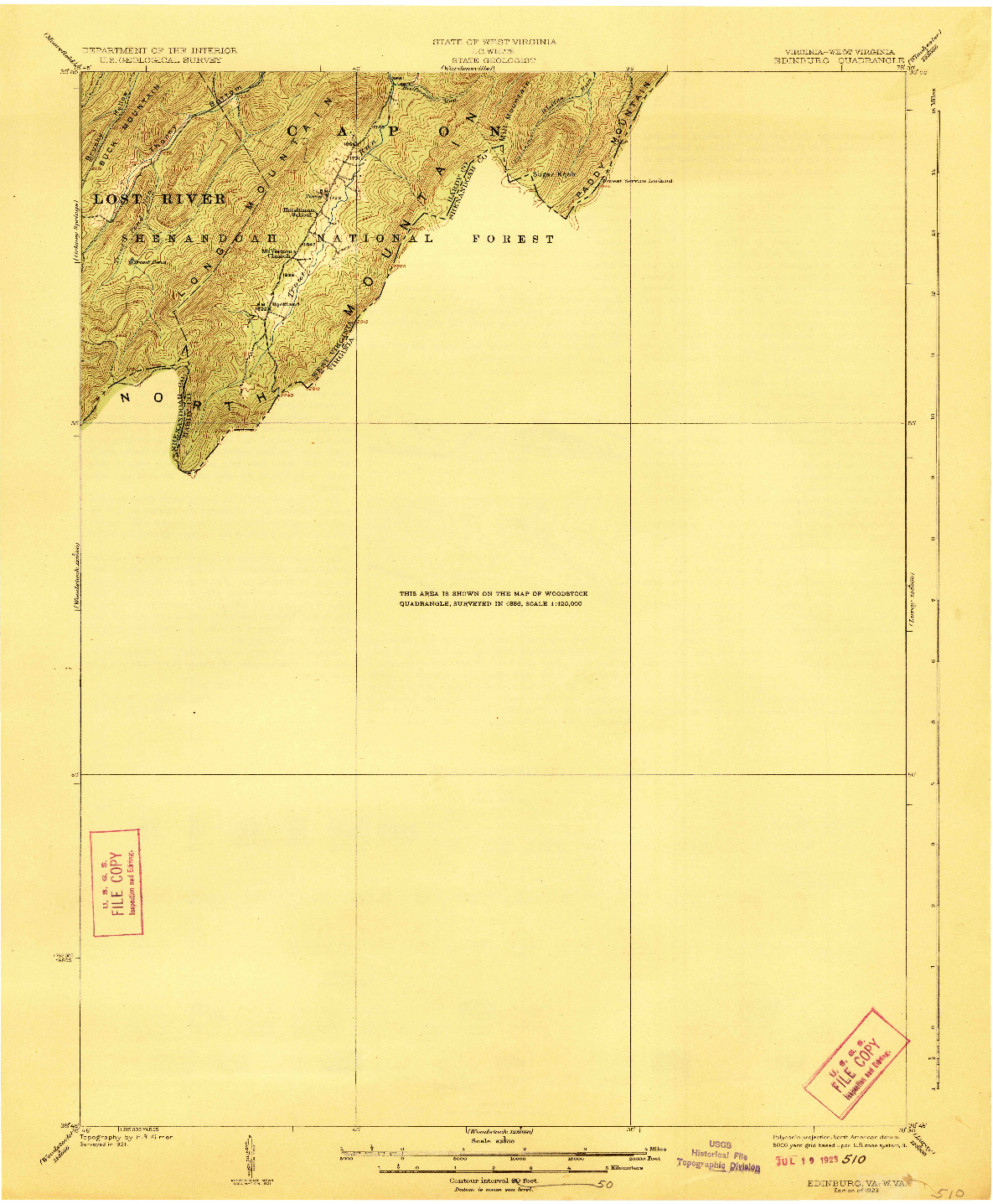 USGS 1:62500-SCALE QUADRANGLE FOR EDINBURG, VA 1923
