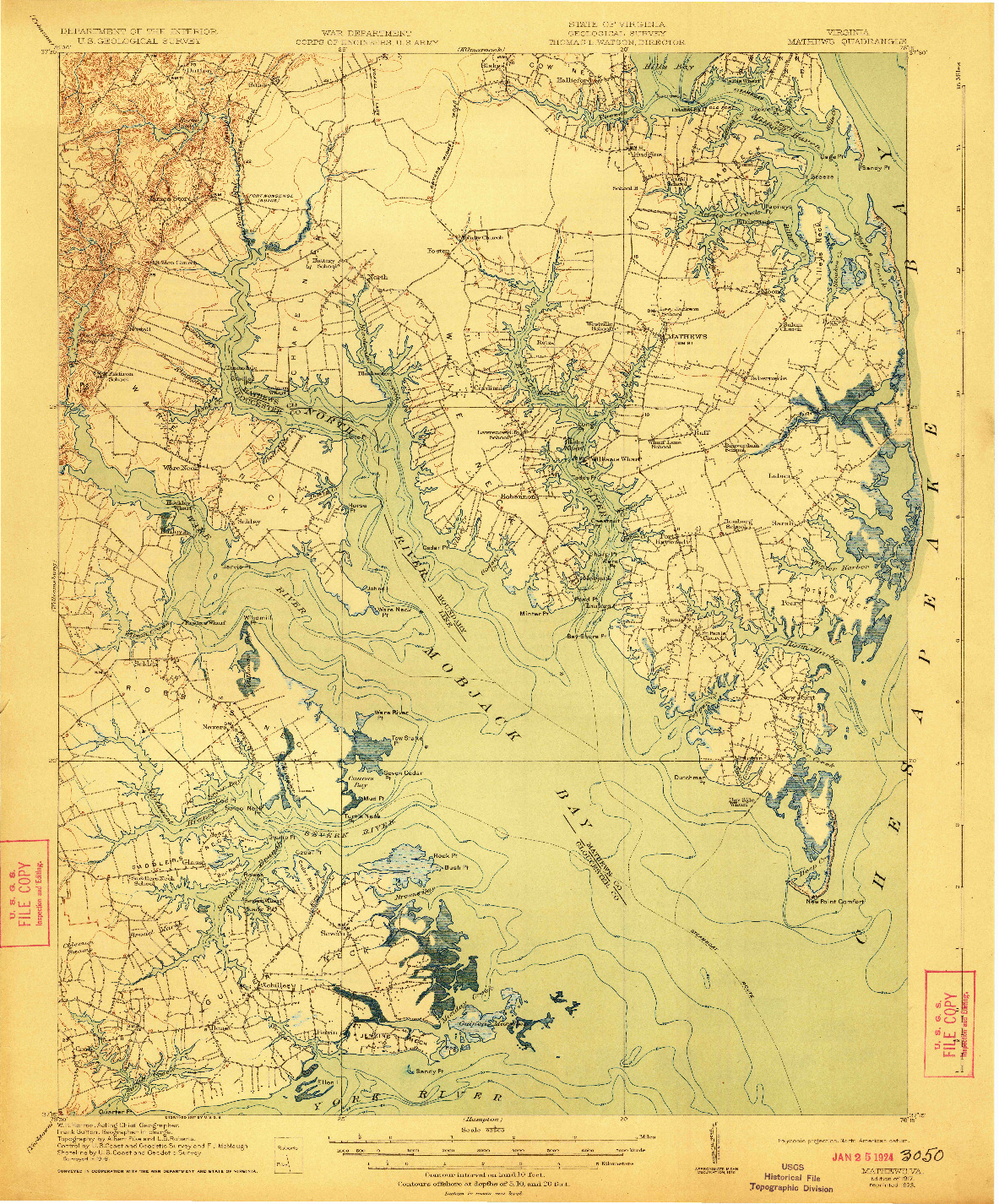 USGS 1:62500-SCALE QUADRANGLE FOR MATHEWS, VA 1917