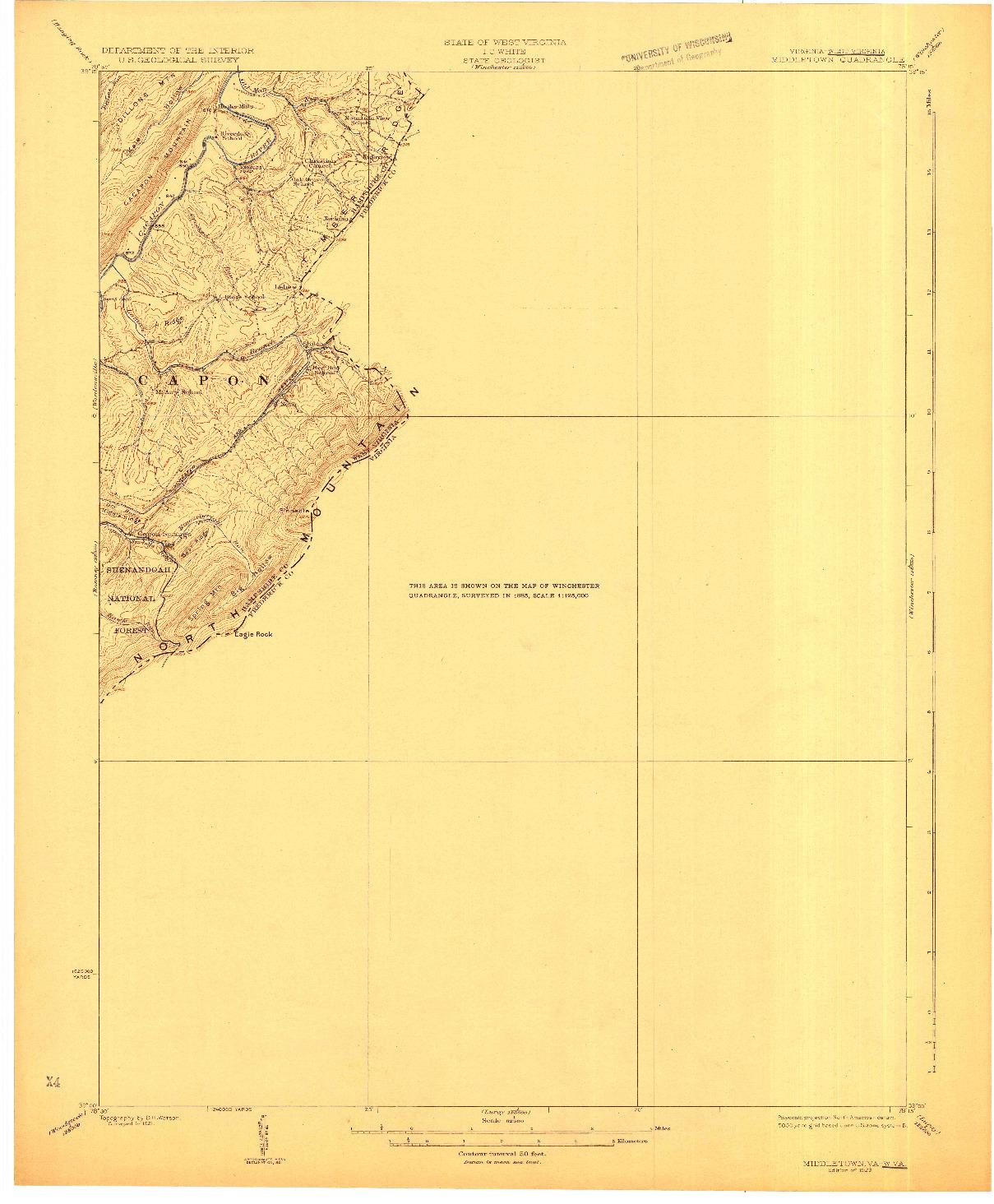 USGS 1:62500-SCALE QUADRANGLE FOR MIDDLETOWN, VA 1923