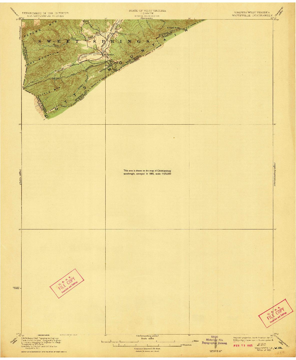 USGS 1:62500-SCALE QUADRANGLE FOR WAITEVILLE, VA 1923