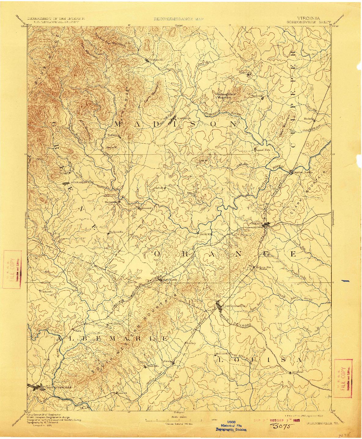 USGS 1:125000-SCALE QUADRANGLE FOR GORDONSVILLE, VA 1892