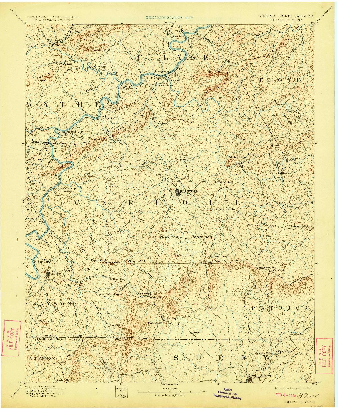 USGS 1:125000-SCALE QUADRANGLE FOR HILLSVILLE, VA 1896