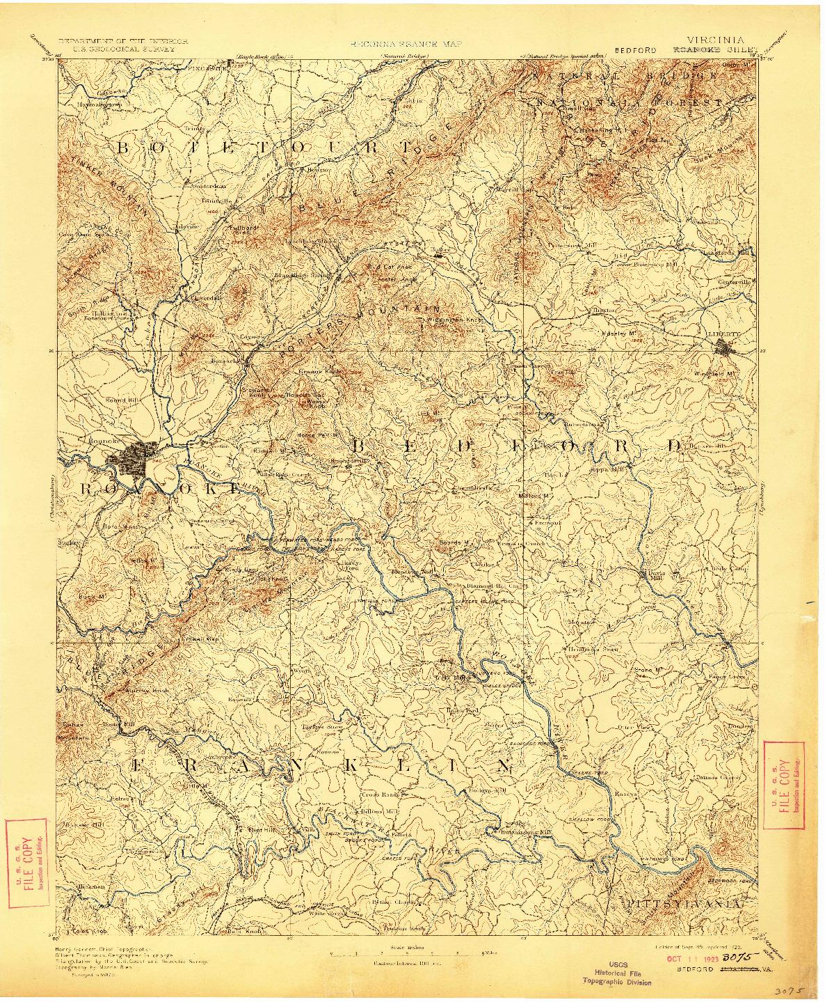 USGS 1:125000-SCALE QUADRANGLE FOR ROANOKE, VA 1891