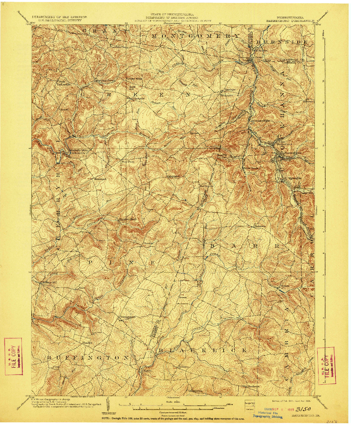 USGS 1:62500-SCALE QUADRANGLE FOR BARNESBORO, PA 1904