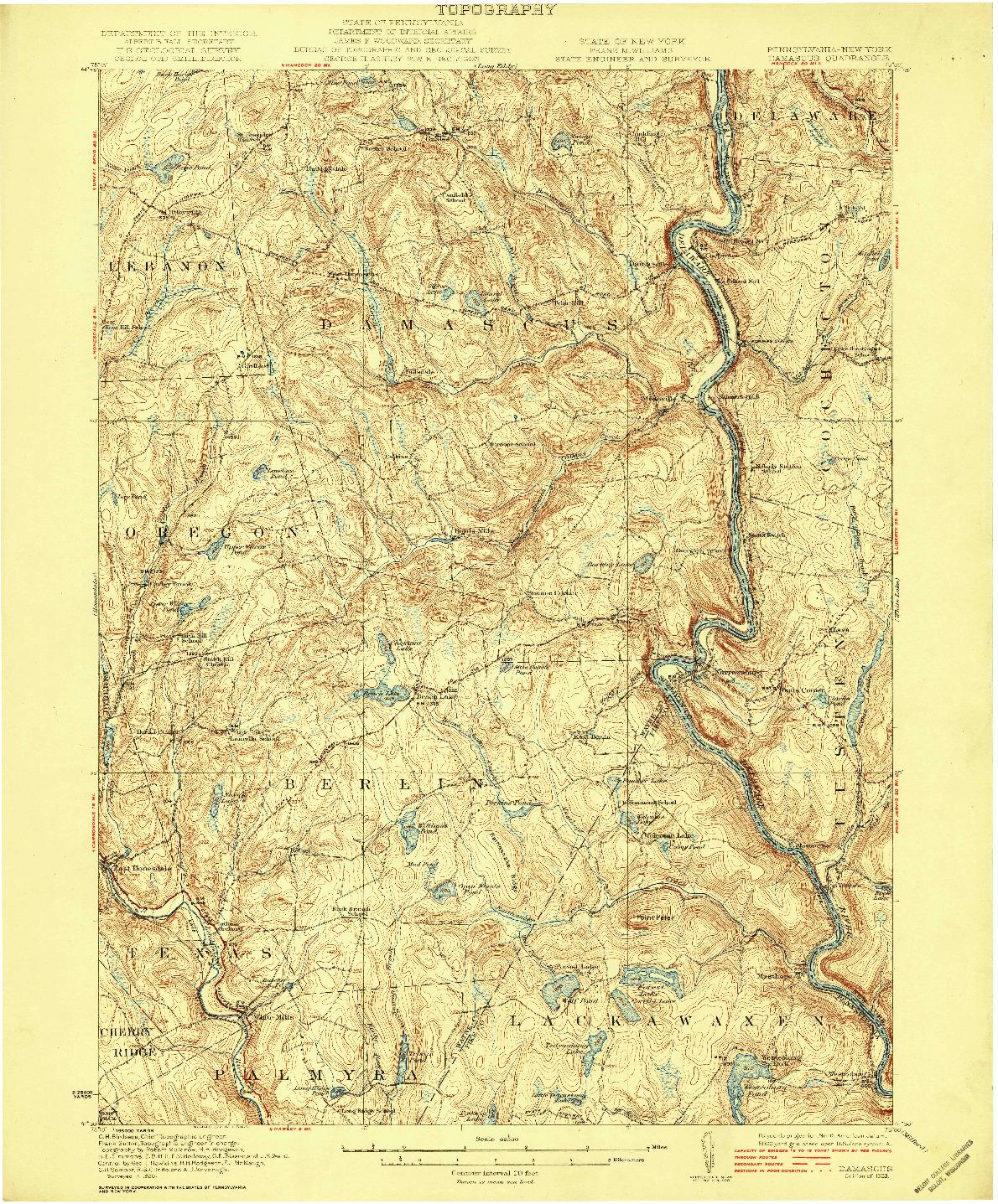 USGS 1:62500-SCALE QUADRANGLE FOR DAMASCUS, PA 1923