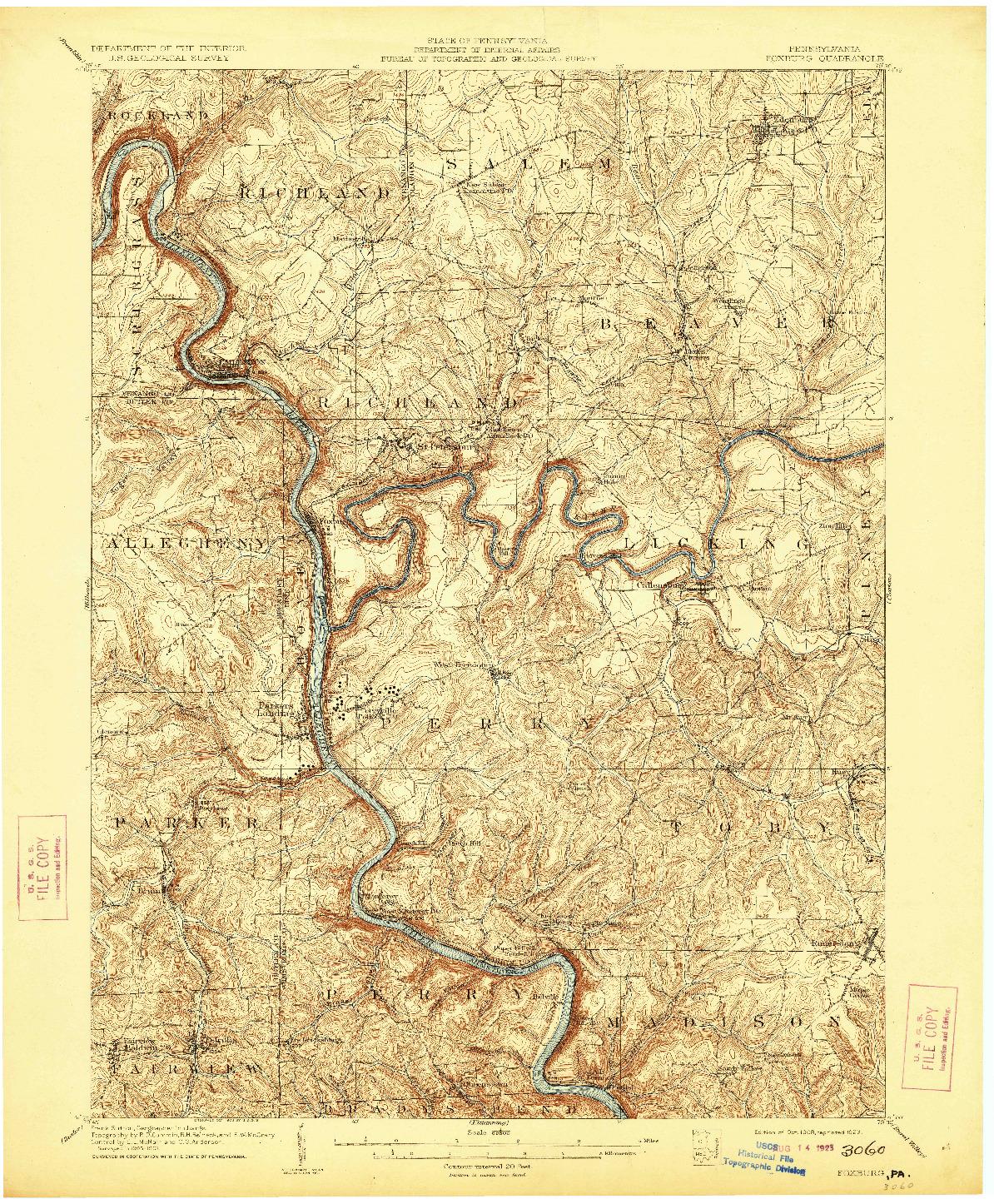 USGS 1:62500-SCALE QUADRANGLE FOR FOXBURG, PA 1908