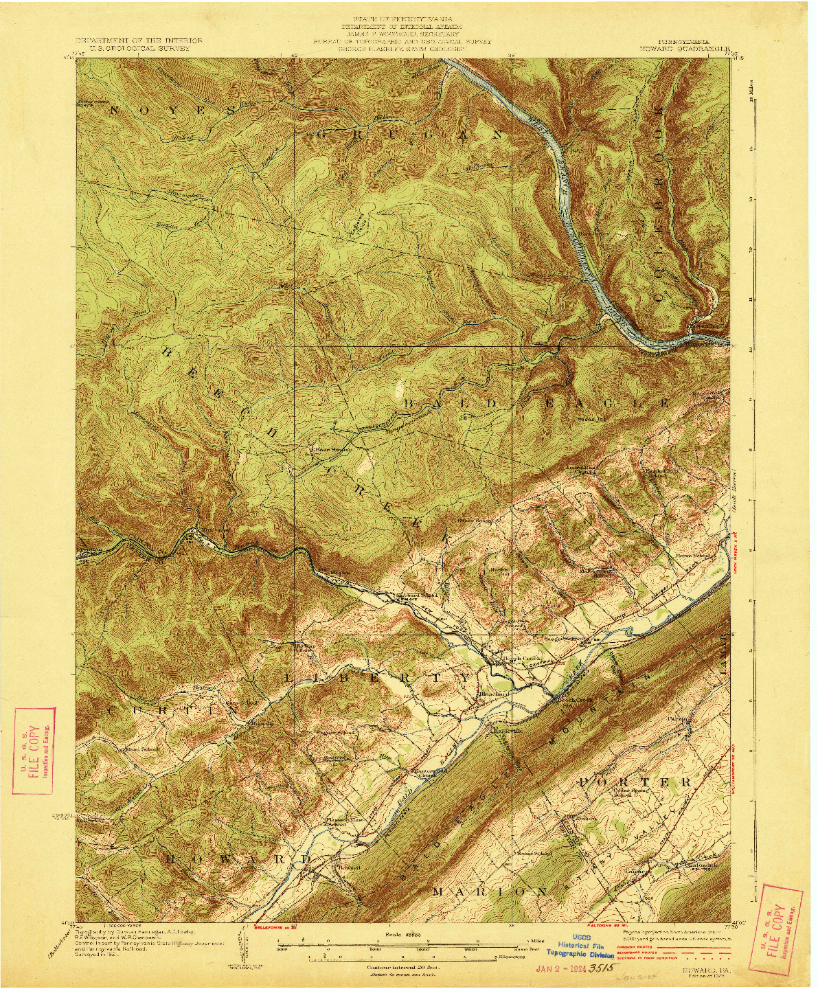 USGS 1:62500-SCALE QUADRANGLE FOR HOWARD, PA 1923