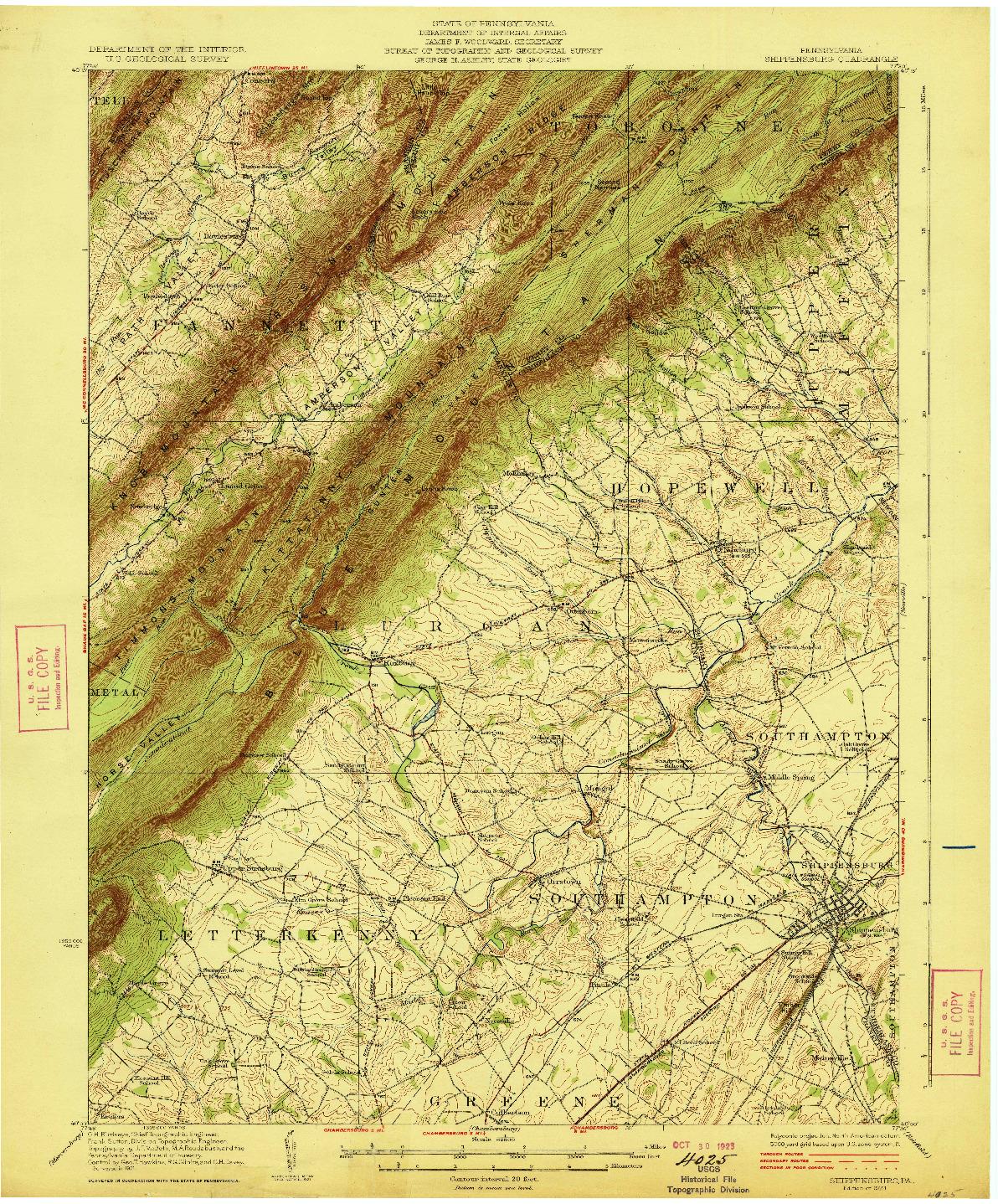 USGS 1:62500-SCALE QUADRANGLE FOR SHIPPENSBURG, PA 1923