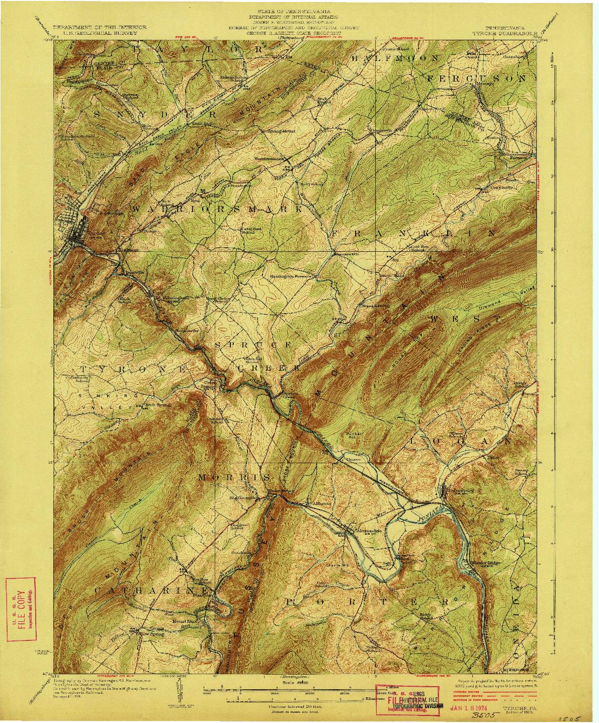 USGS 1:62500-SCALE QUADRANGLE FOR TYRONE, PA 1923